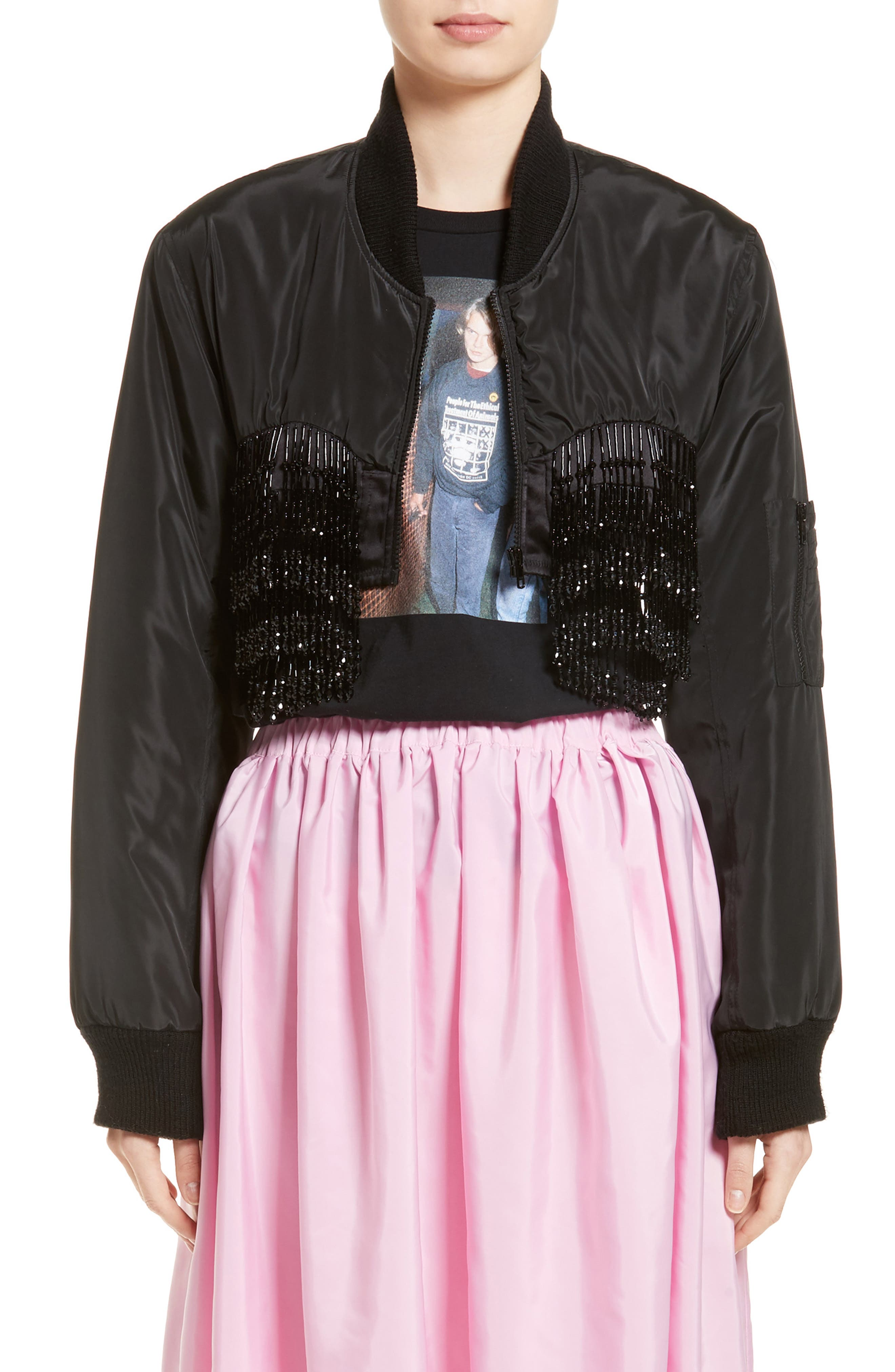 Crop Beaded Bomber Jacket, Main, color, 001