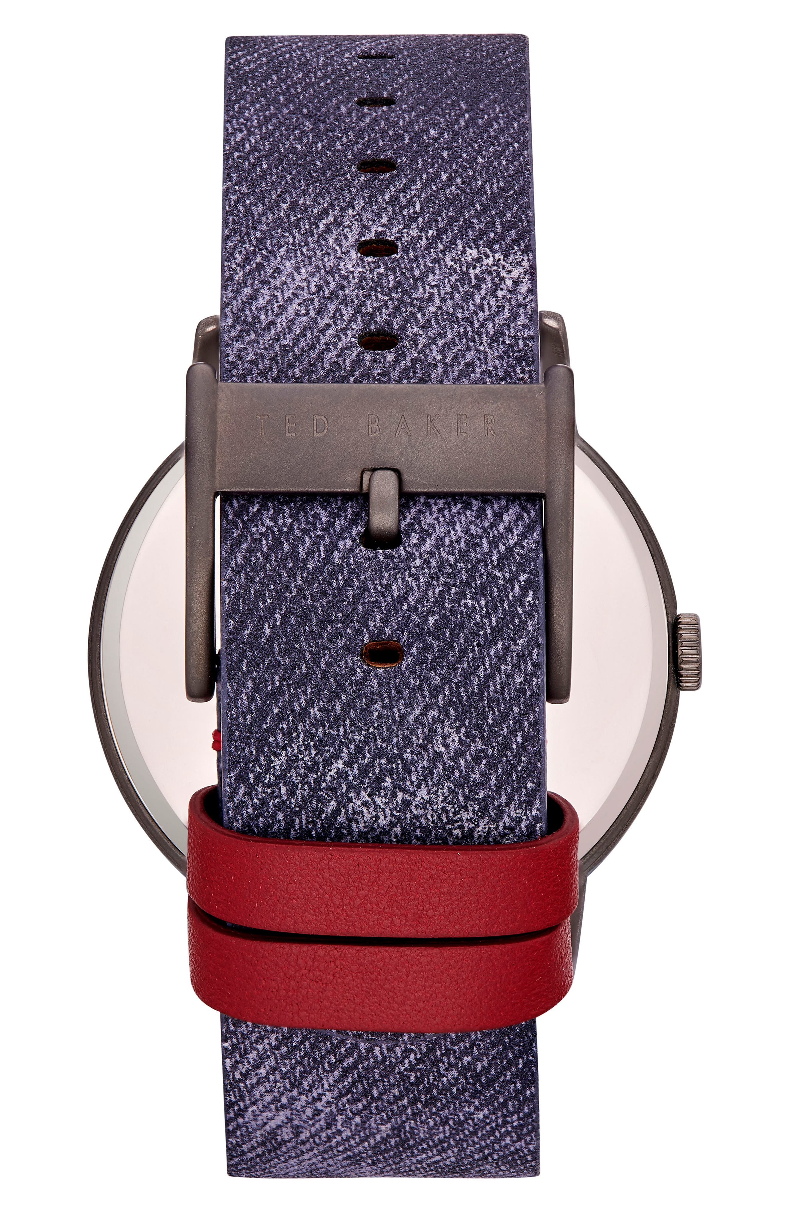Daniel Synthetic Strap Watch, 42mm,                             Alternate thumbnail 2, color,                             DARK BLUE/ BLUE