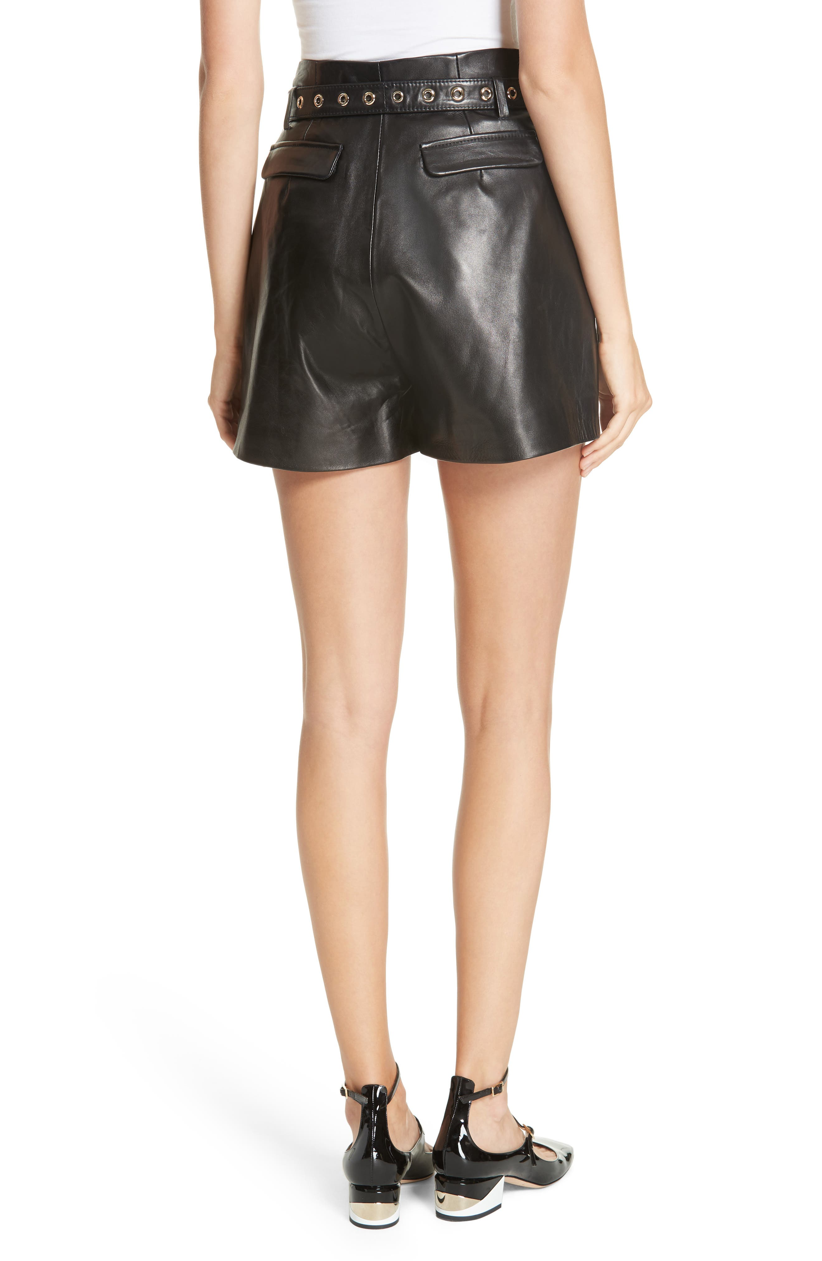 Belted Leather Shorts,                             Alternate thumbnail 2, color,                             BLACK
