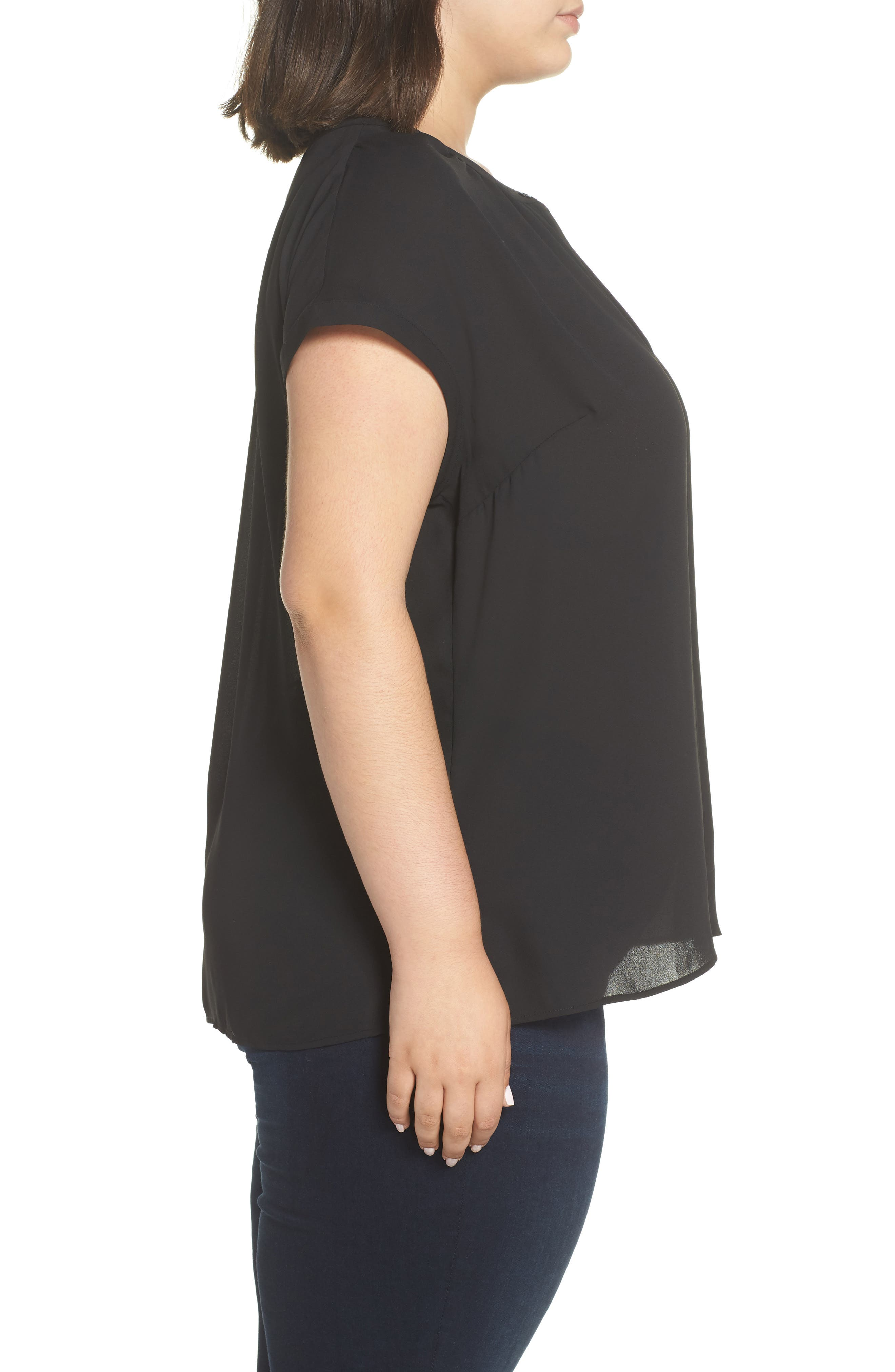 Gathered Neck Button Down Top,                             Alternate thumbnail 3, color,                             001