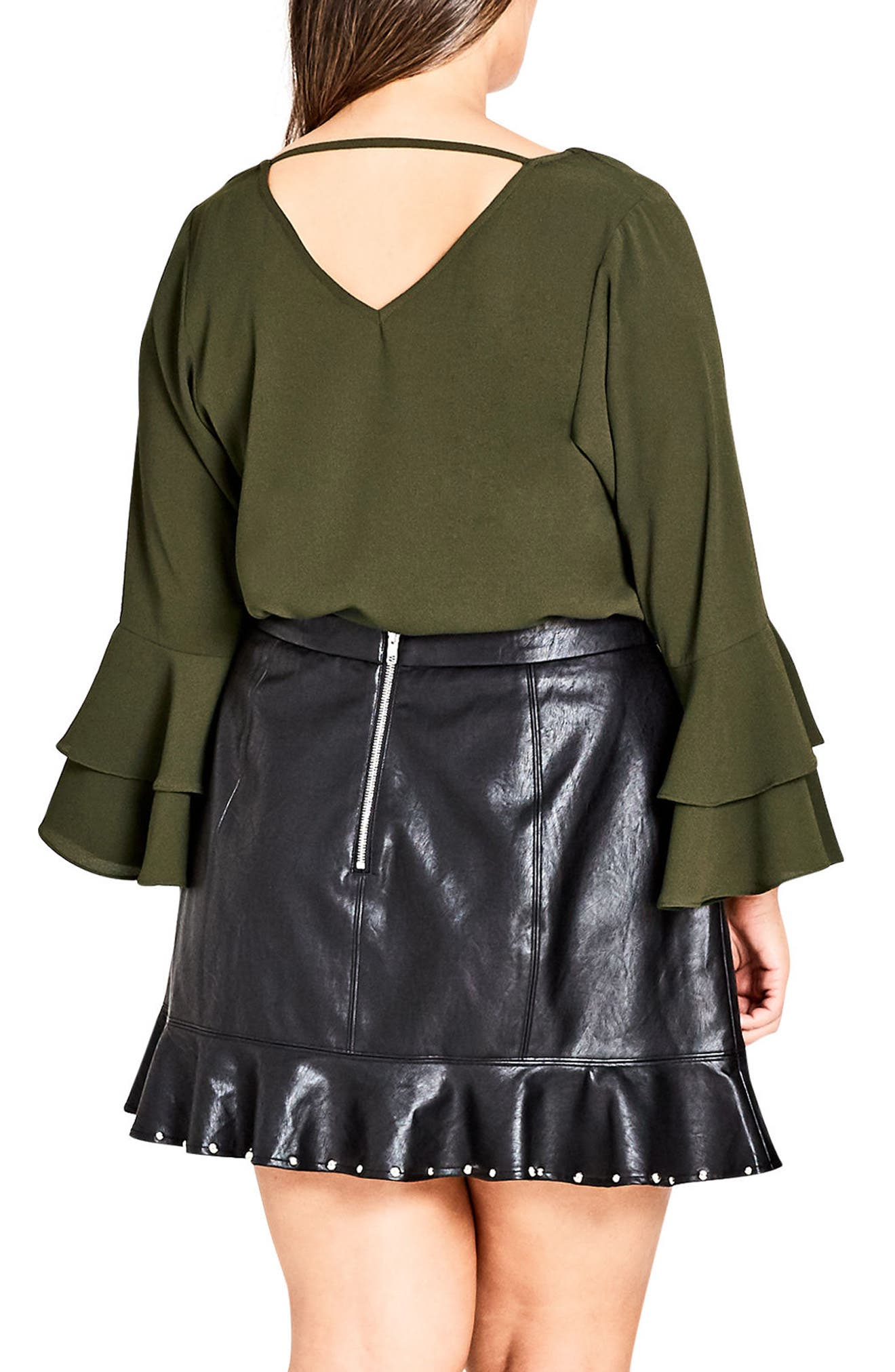 Double Frill Sleeve Top,                             Alternate thumbnail 2, color,                             309