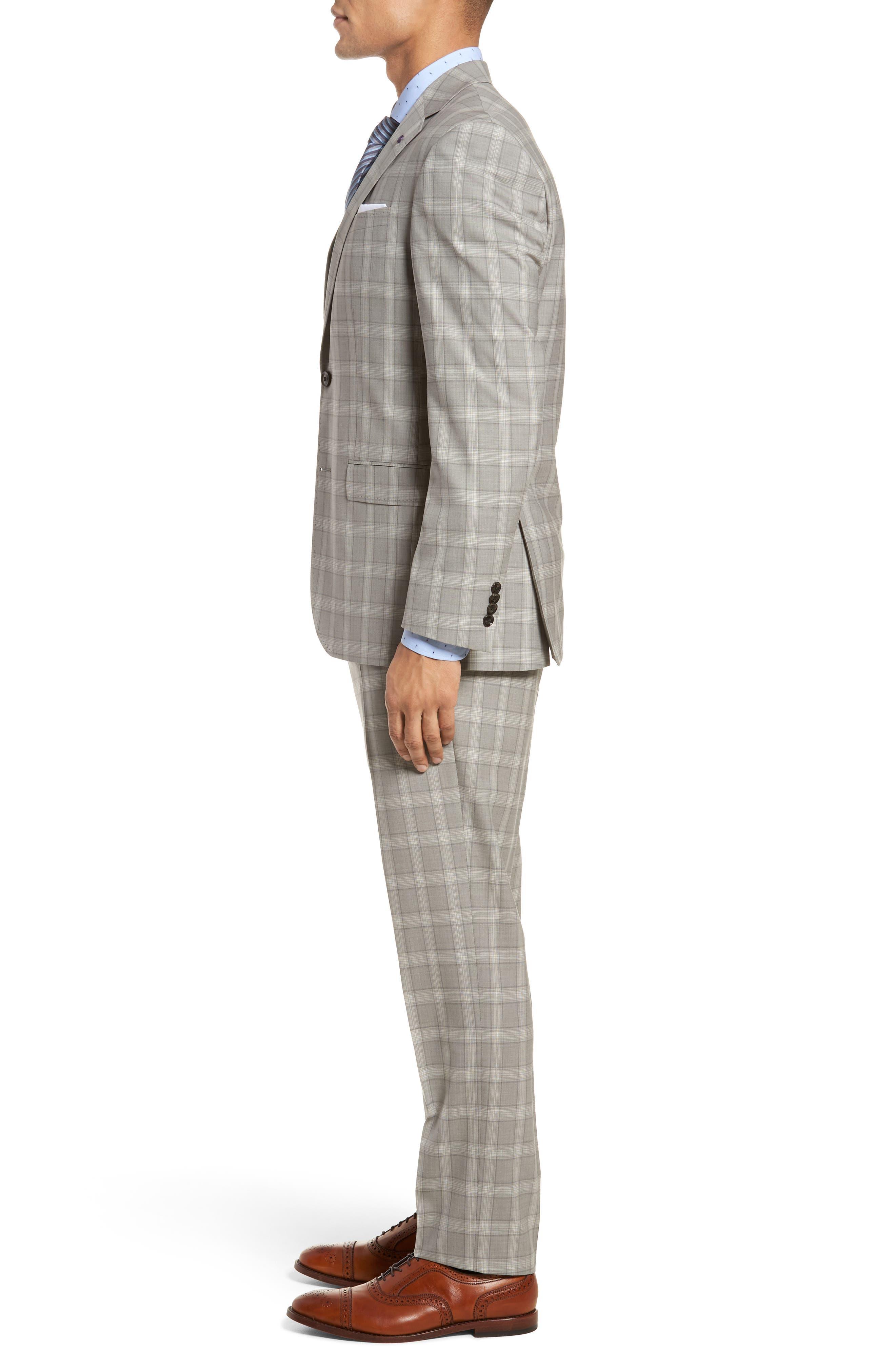 Jay Trim Fit Plaid Wool Suit,                             Alternate thumbnail 3, color,                             050