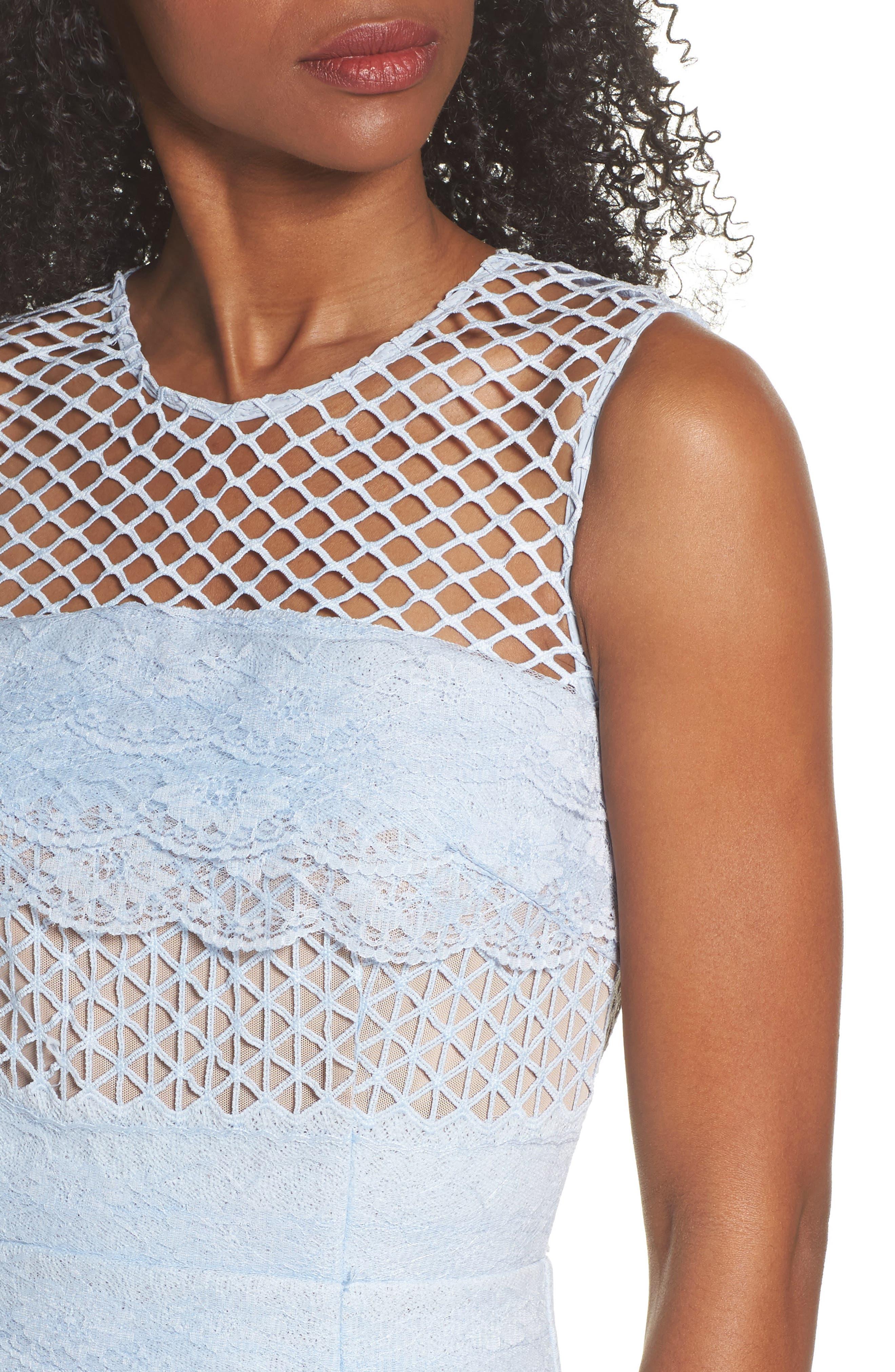 Sienna Lace Panel Sheath Dress,                             Alternate thumbnail 4, color,                             450