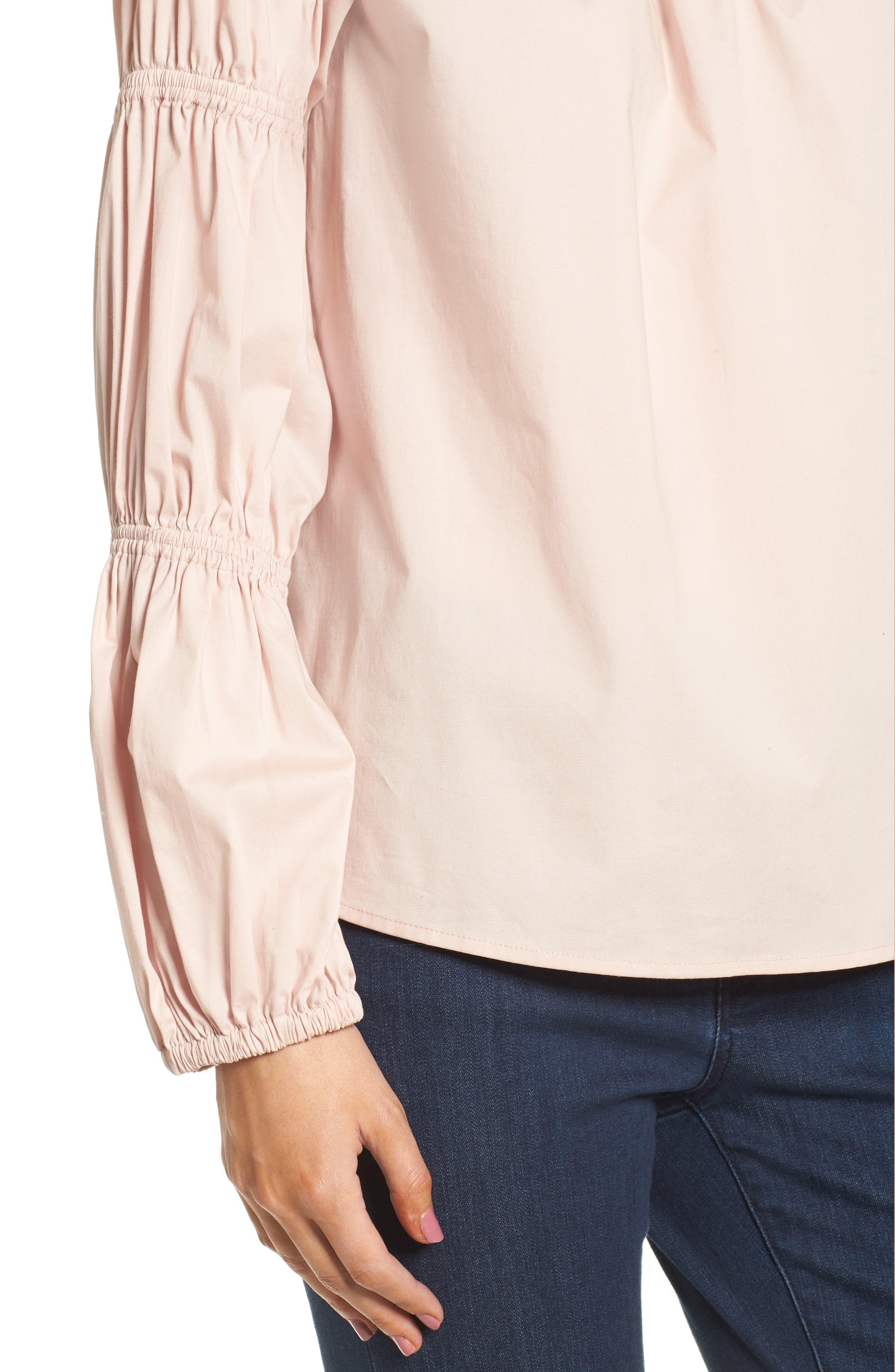 Smocked Poplin Shirt,                             Alternate thumbnail 8, color,