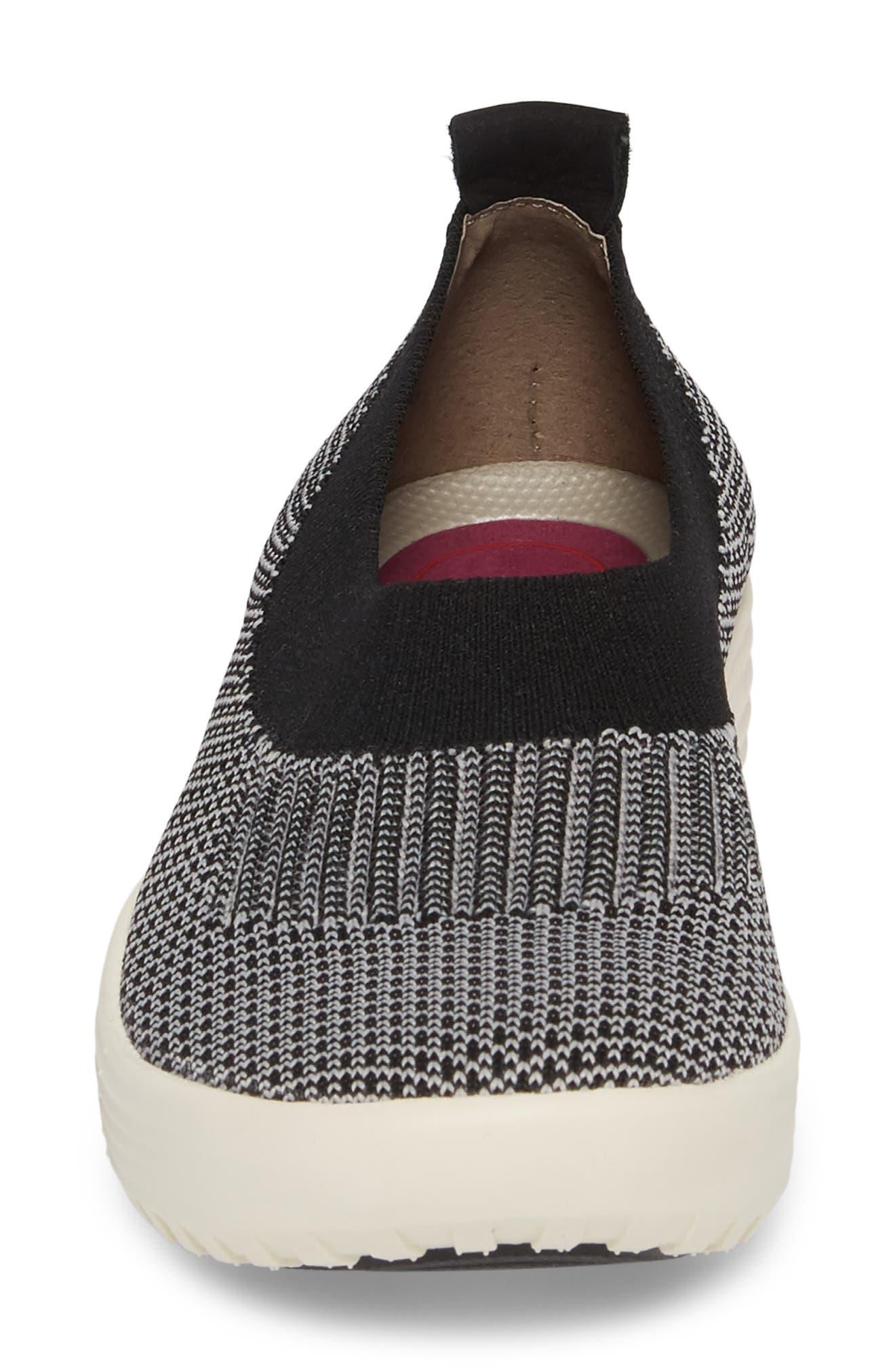 Merigold Slip-On Sock Fit Sneaker,                             Alternate thumbnail 4, color,                             BLACK/ MIST GREY FABRIC