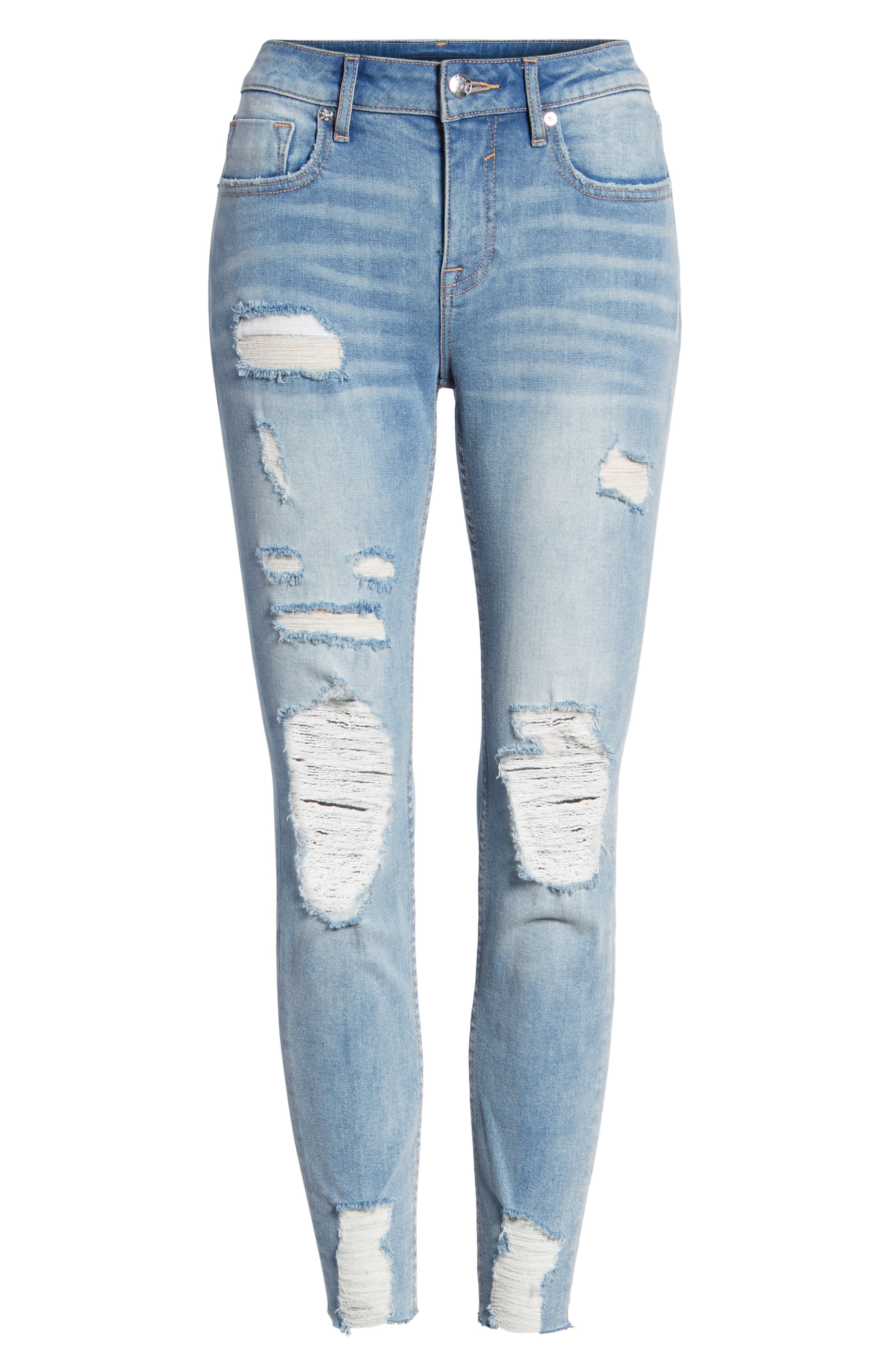 Marley Distressed Crop Skinny Jeans,                             Alternate thumbnail 7, color,                             461