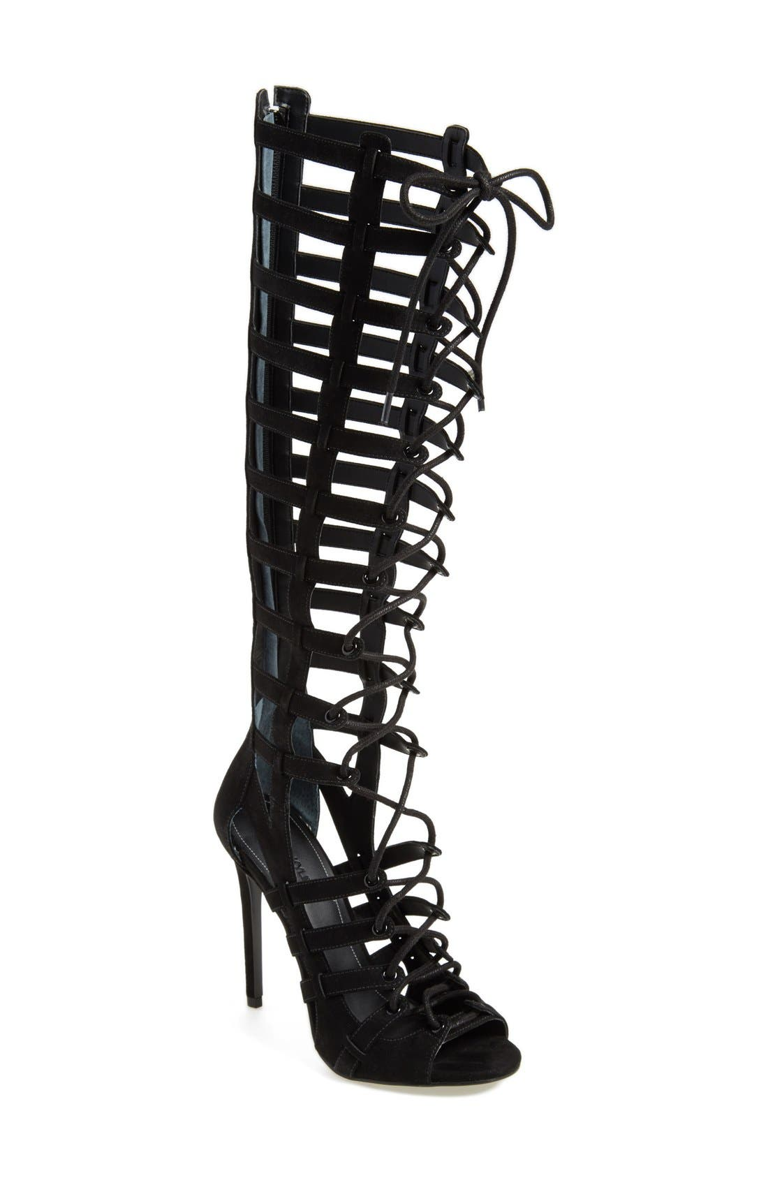 'Emily' Tall Gladiator Sandal,                             Main thumbnail 1, color,                             001