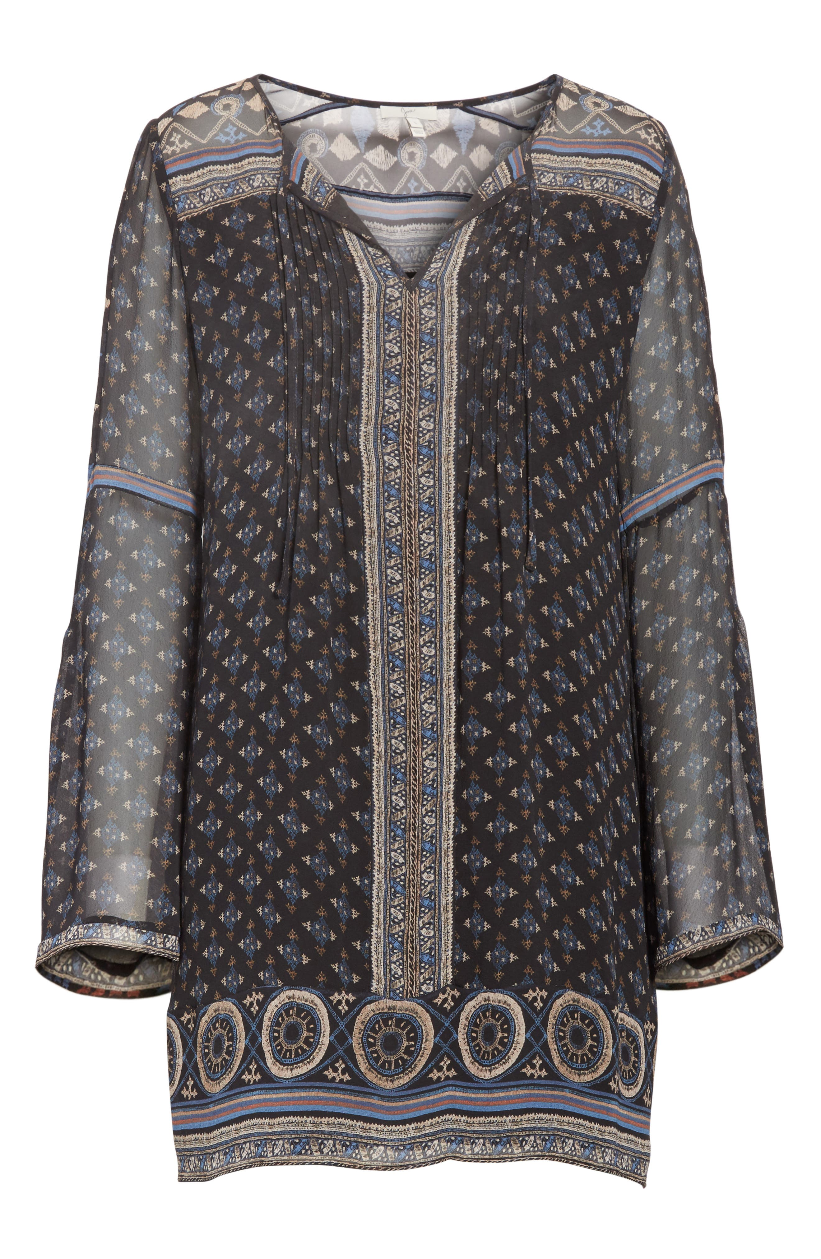 Sheyla Print Silk Shift Dress,                             Alternate thumbnail 6, color,                             004