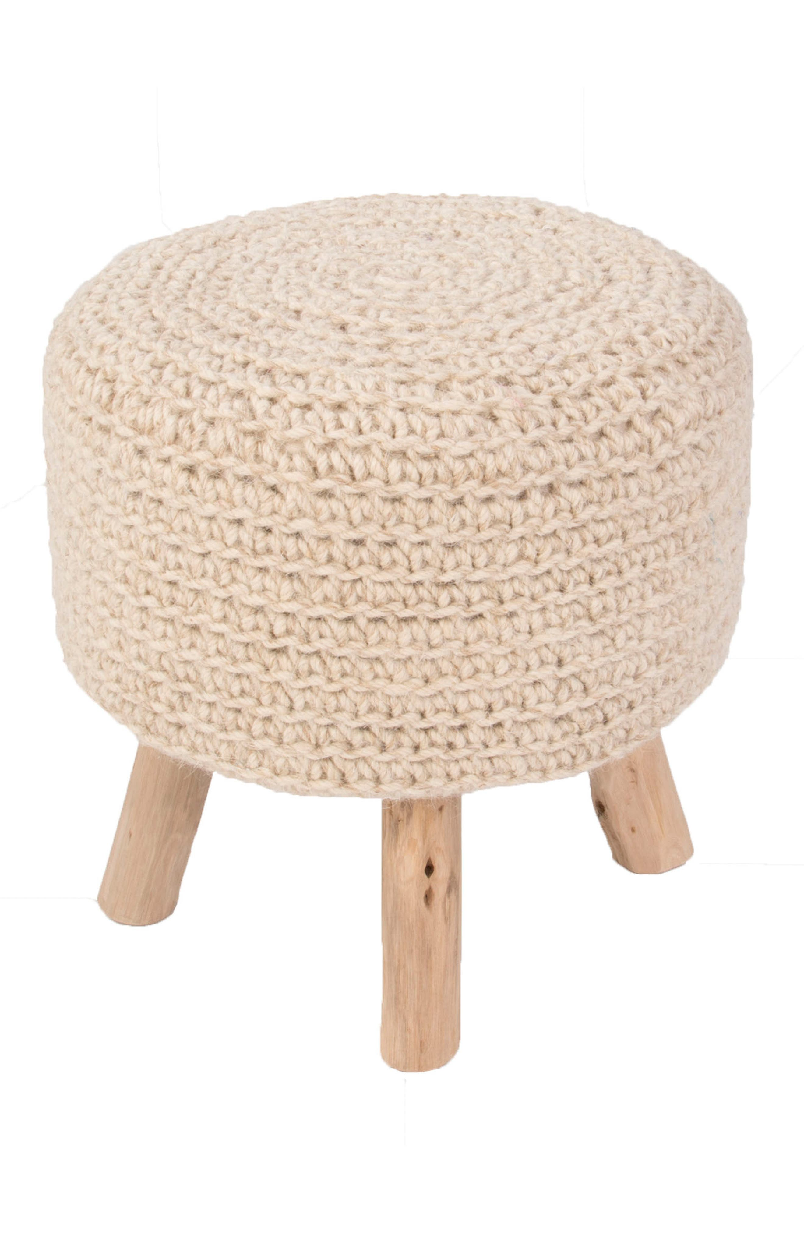 Pouf Stool,                         Main,                         color, CREAM
