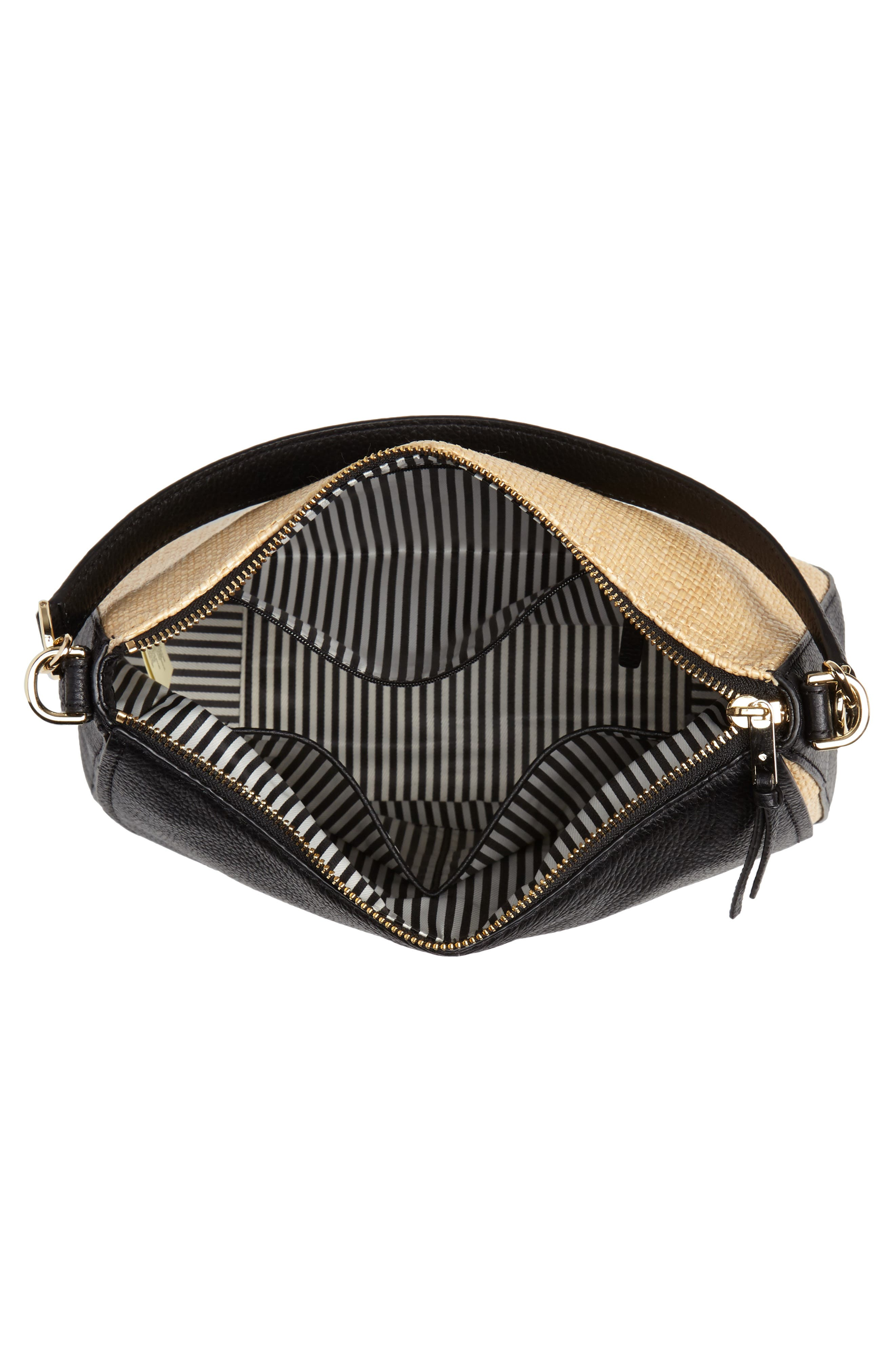 KATE SPADE NEW YORK,                             jackson street - colette straw & leather satchel,                             Alternate thumbnail 4, color,                             257