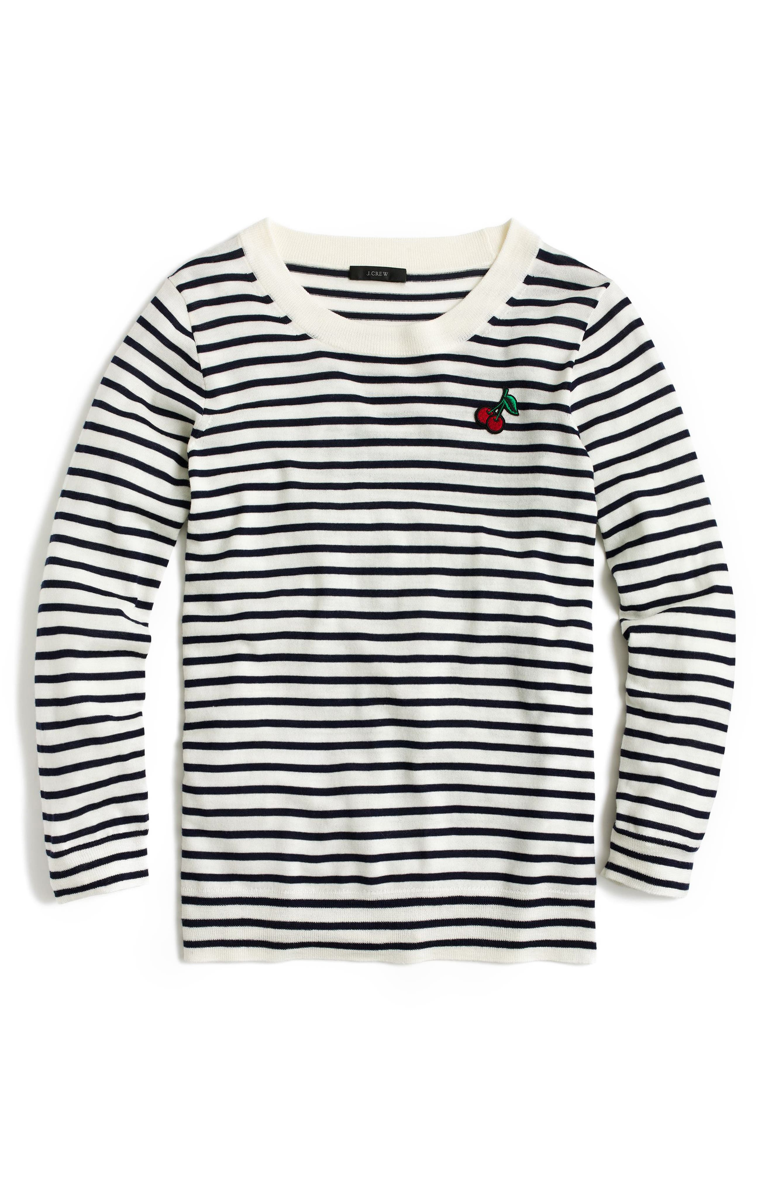 Stripe Tippi Wool Sweater with Cherry Patch, Main, color, 900