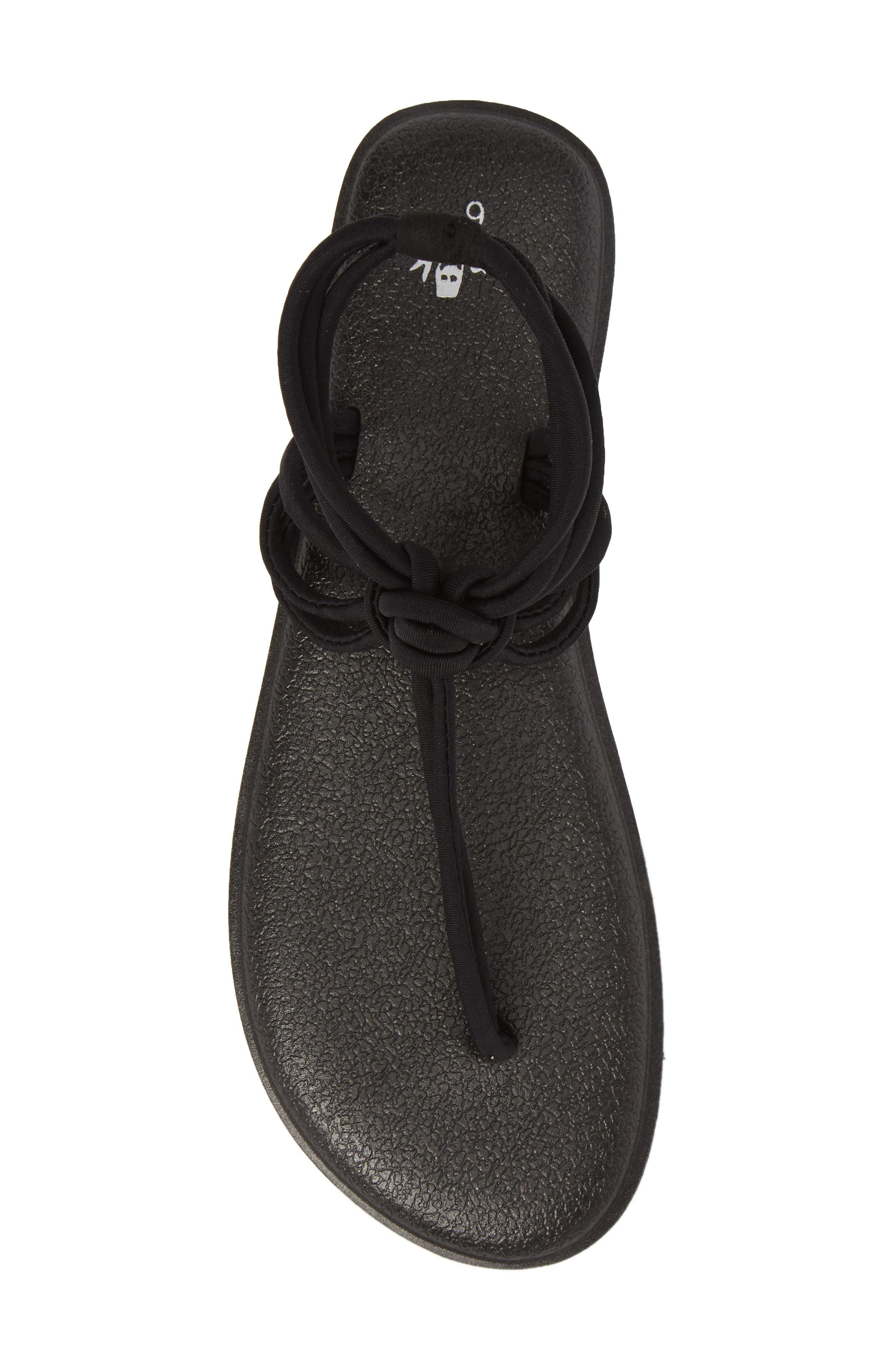 Yoga Sunshine Knotted Thong Sandal,                             Alternate thumbnail 5, color,                             BLACK