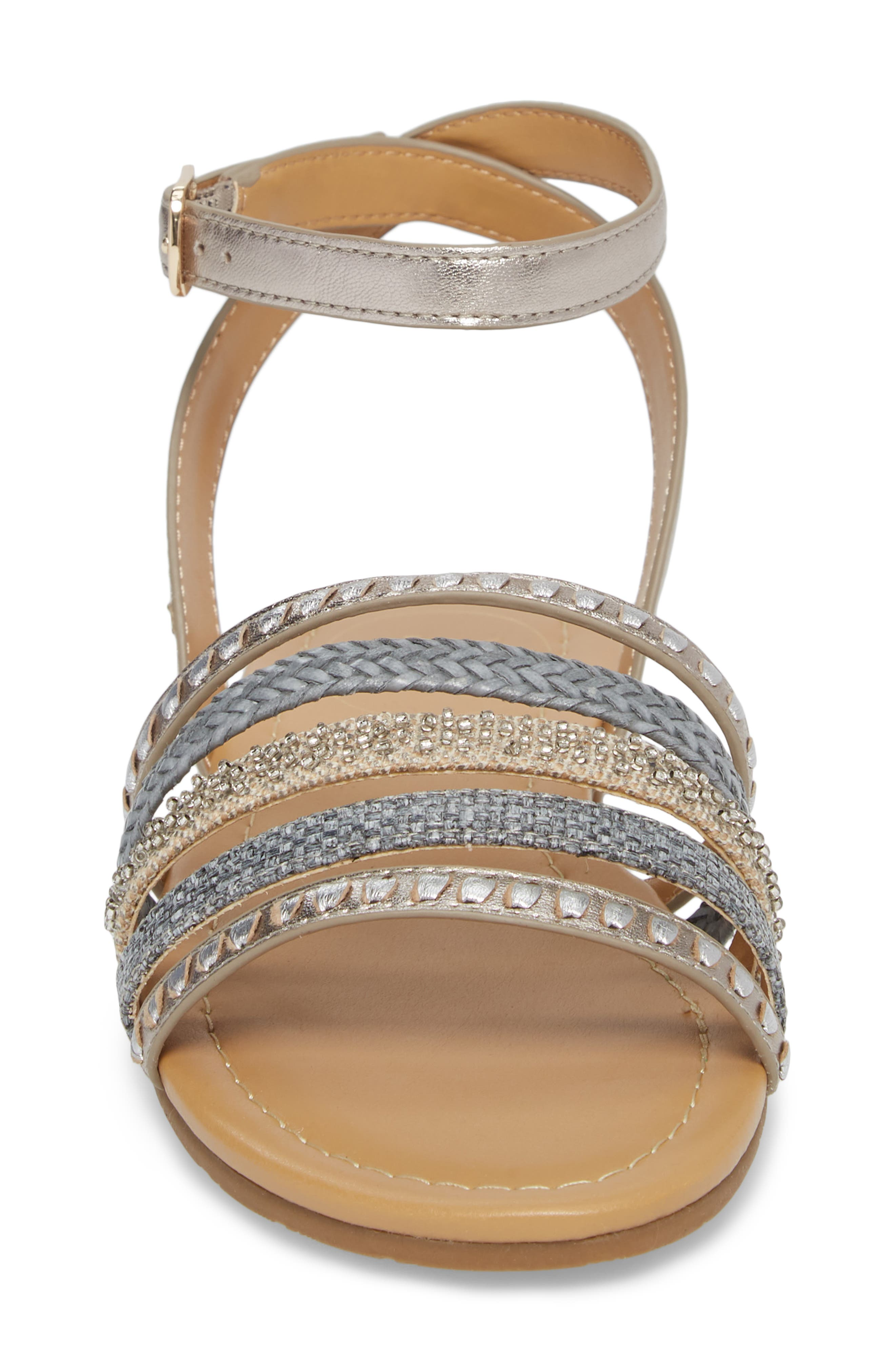 Hannah Braided Embellished Sandal,                             Alternate thumbnail 4, color,                             040