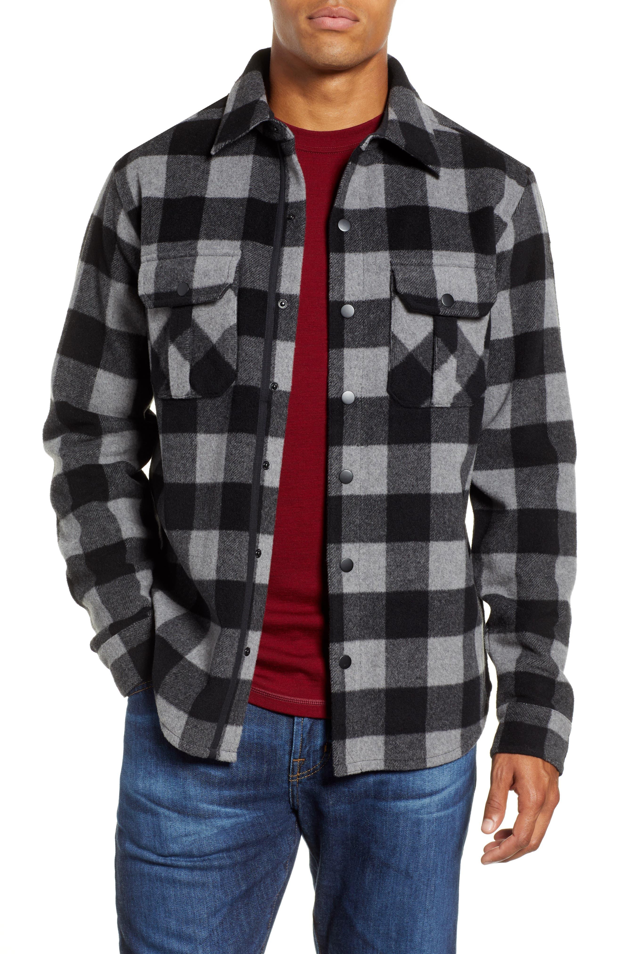 Anchor Line Flannel Shirt Jacket,                         Main,                         color, MEDIUM GREY