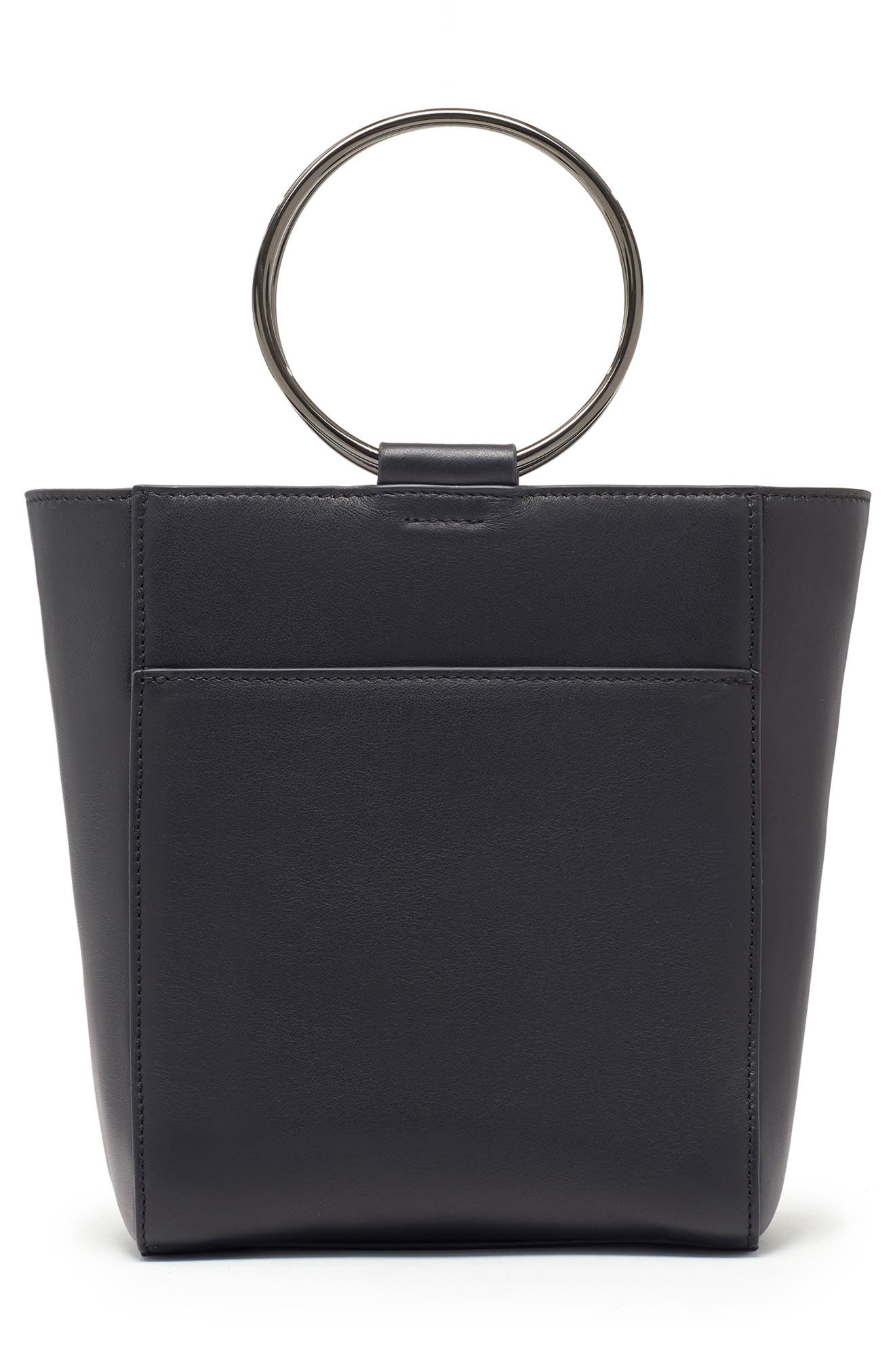 THACKER,                             Le Bucket Leather Bag,                             Alternate thumbnail 3, color,                             BLACK/ GUNMETAL