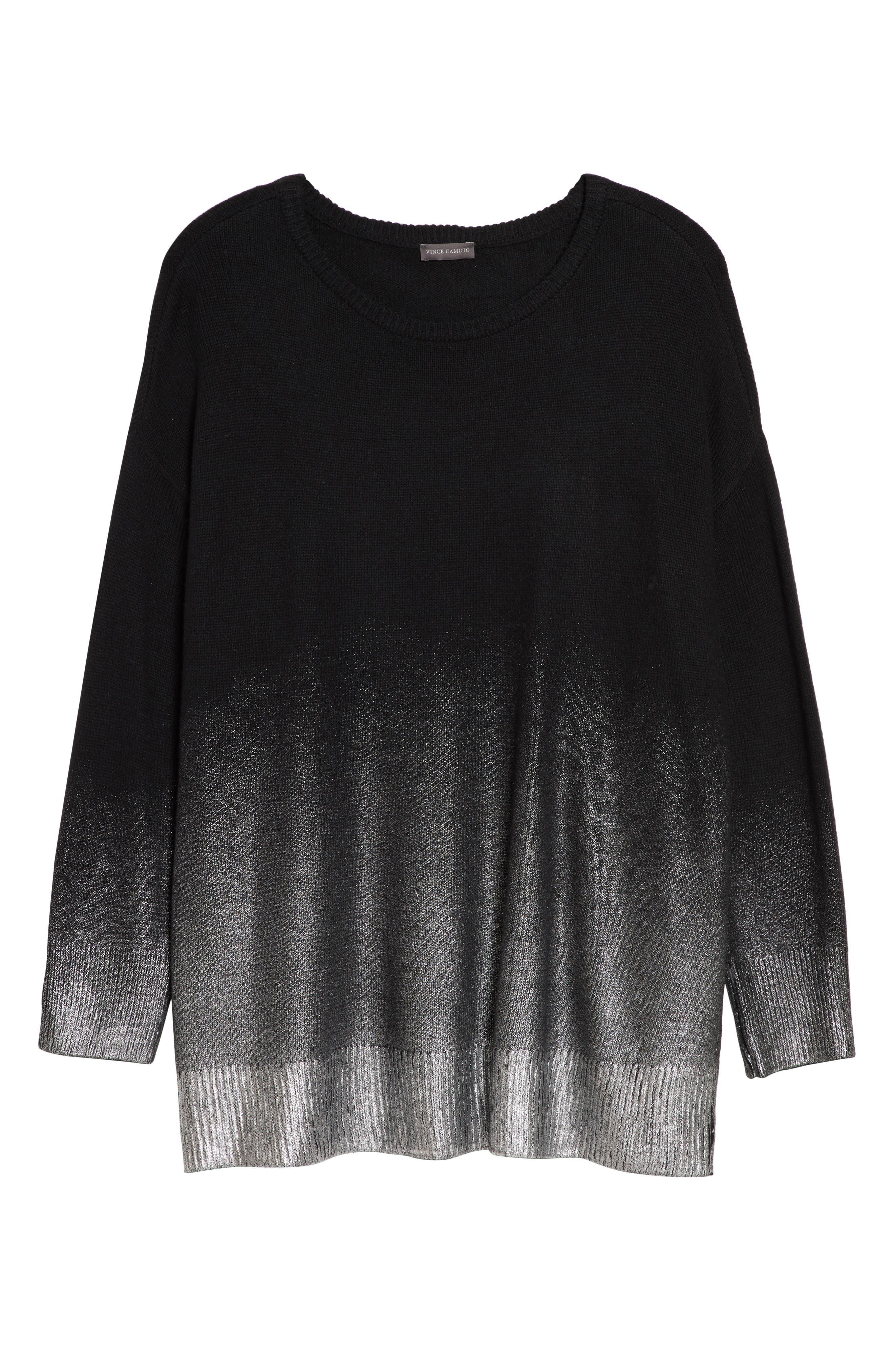 Long Sleeve Foiled Ombré Sweater,                             Alternate thumbnail 6, color,                             RICH BLACK
