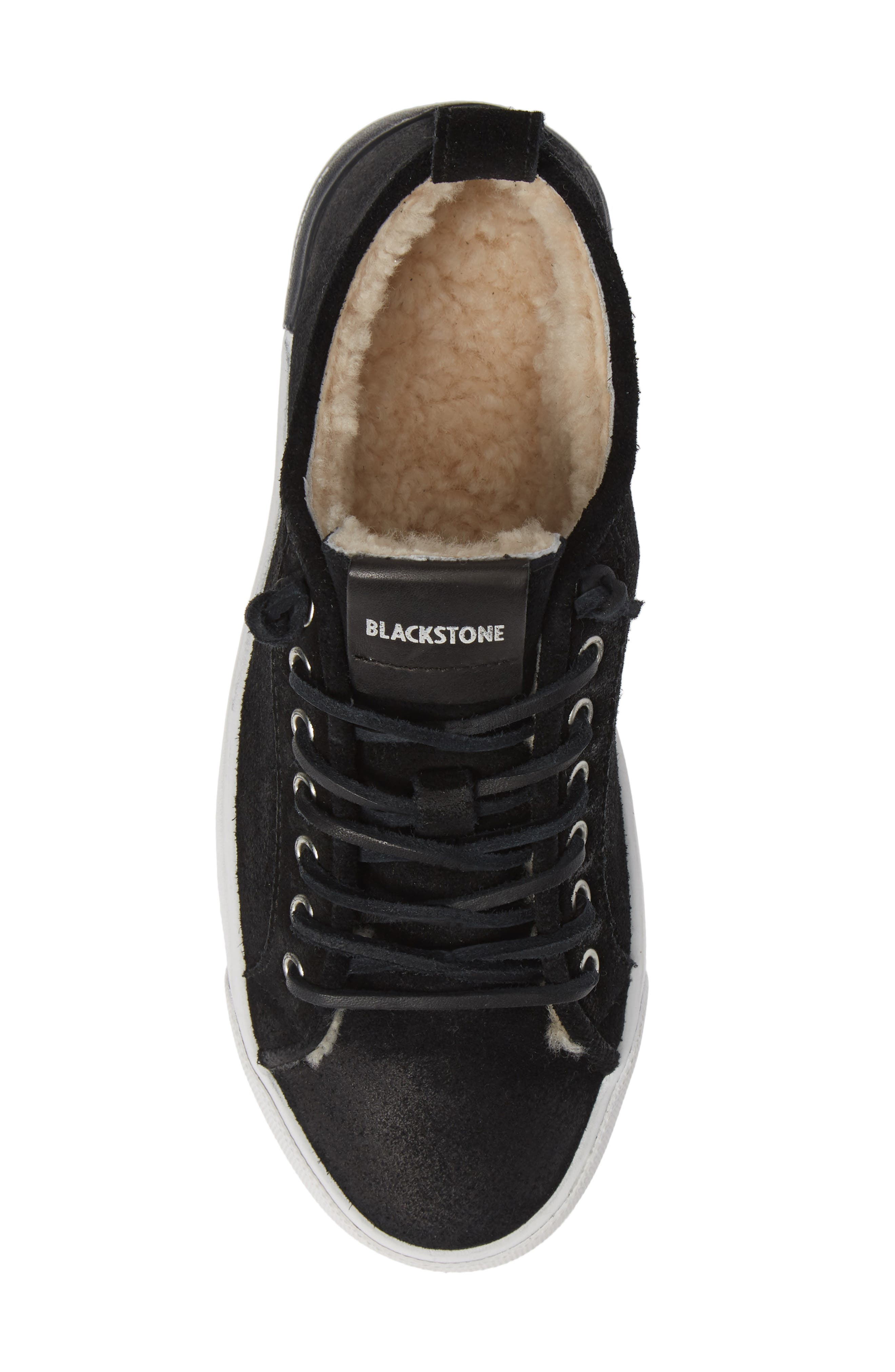 QL60 Genuine Shearling Lined Sneaker,                             Alternate thumbnail 5, color,                             BLACK LEATHER
