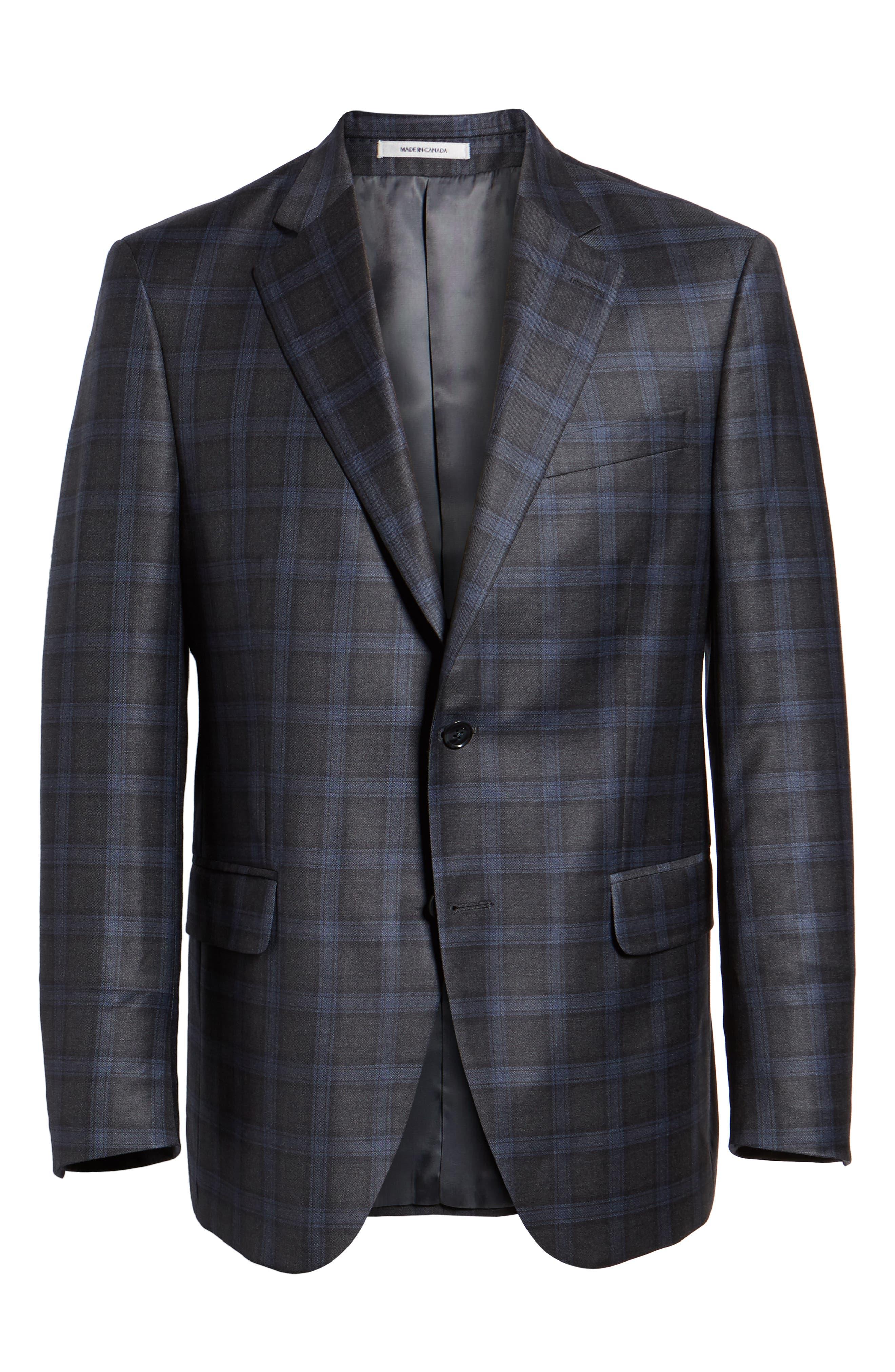 Classic Fit Windowpane Wool Sport Coat,                             Alternate thumbnail 5, color,                             GREY