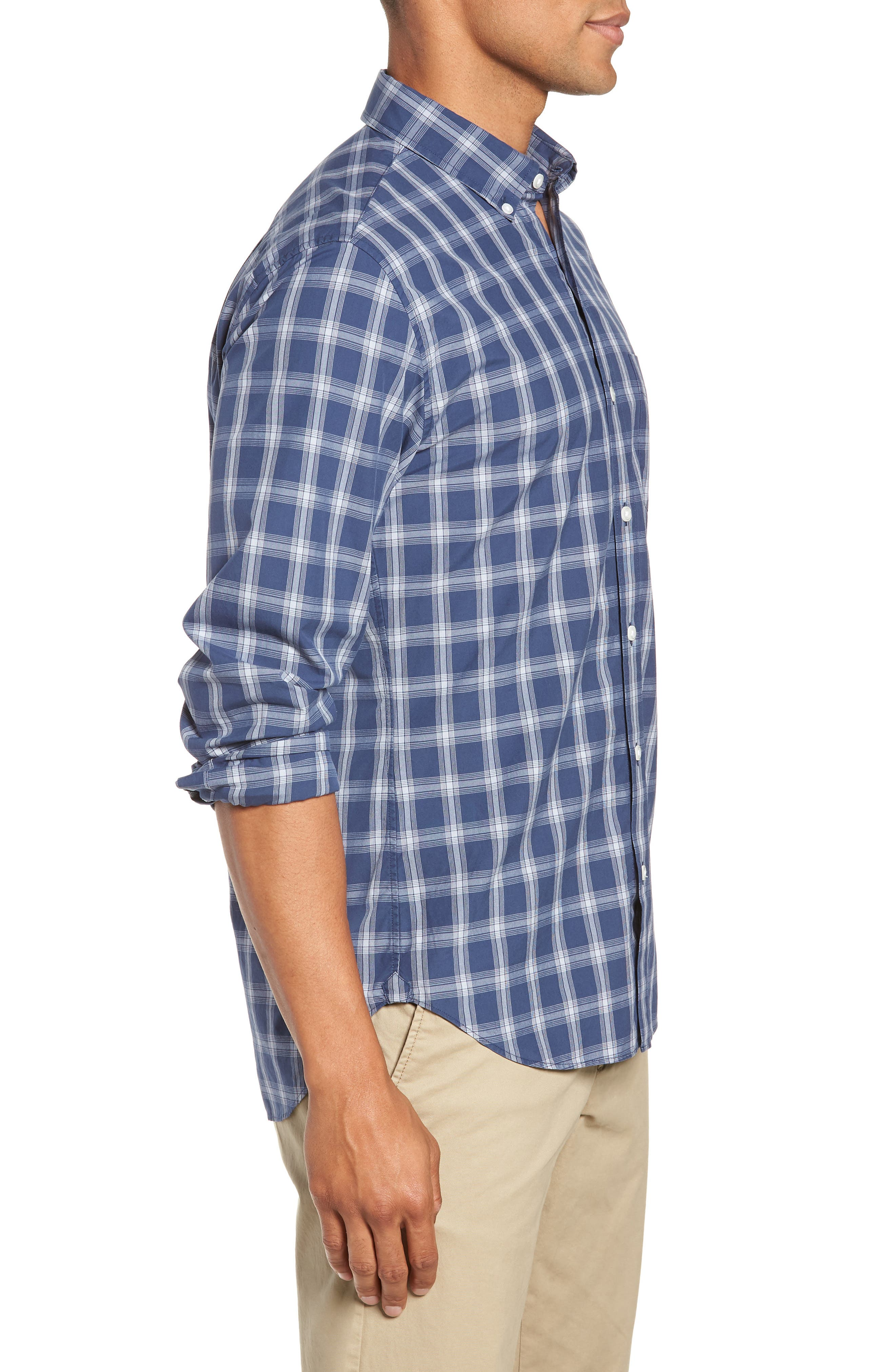 Washed Button Down Slim Fit Plaid Sport Shirt,                             Alternate thumbnail 4, color,                             ARID BLUE
