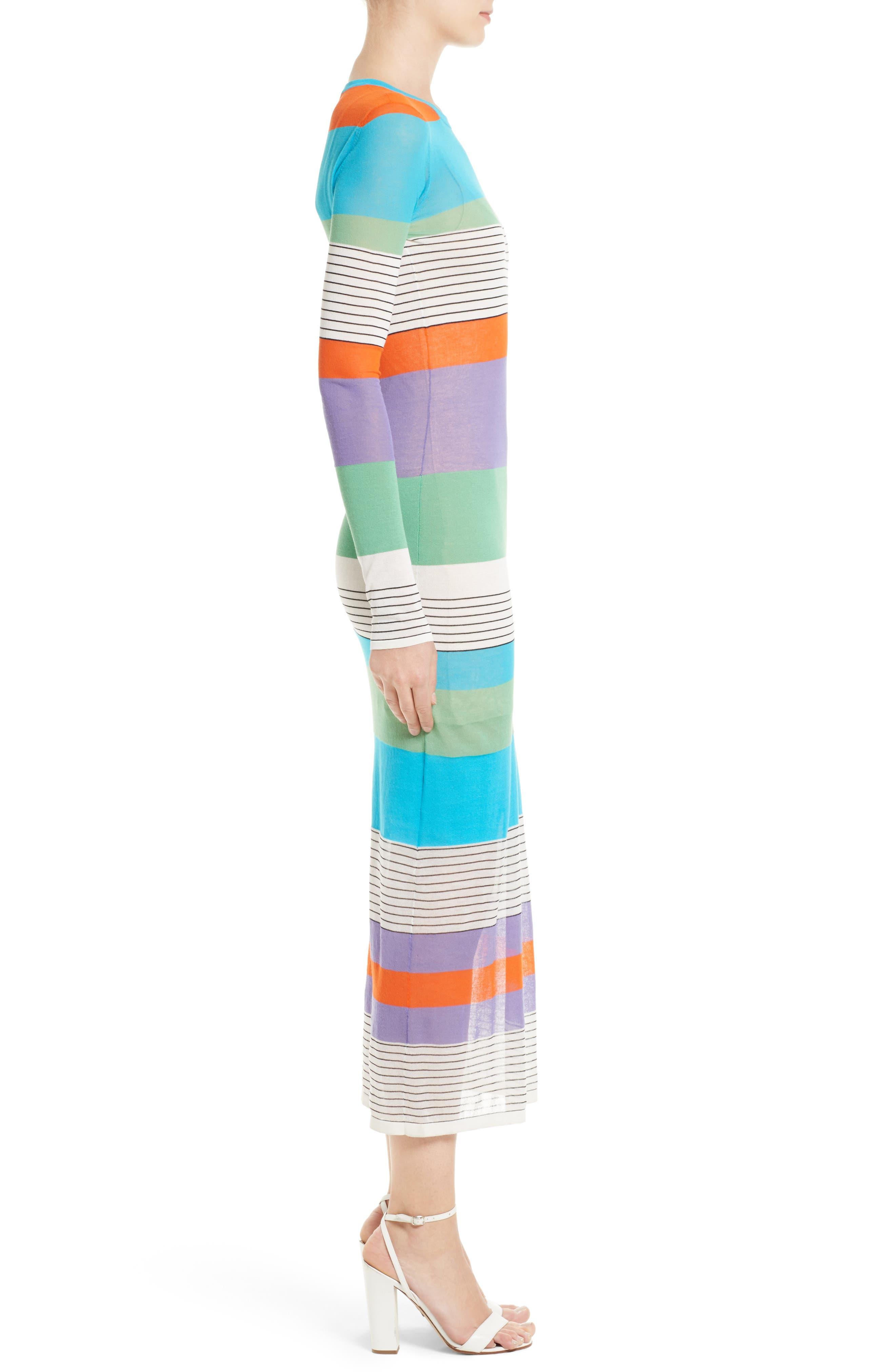 Colorblock Knit Midi Dress,                             Alternate thumbnail 3, color,                             441