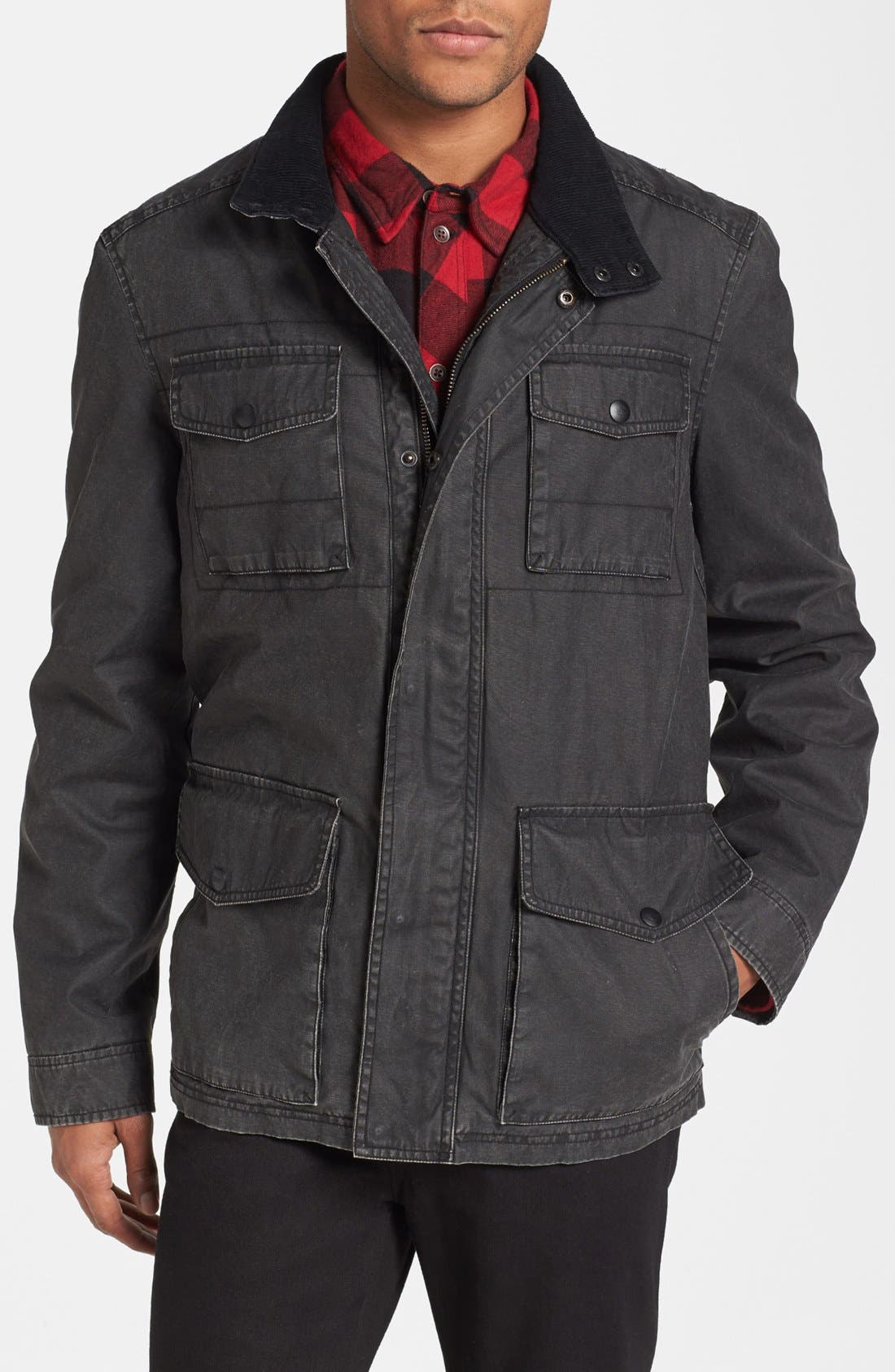 Coated Cotton Field Jacket,                             Main thumbnail 1, color,                             001