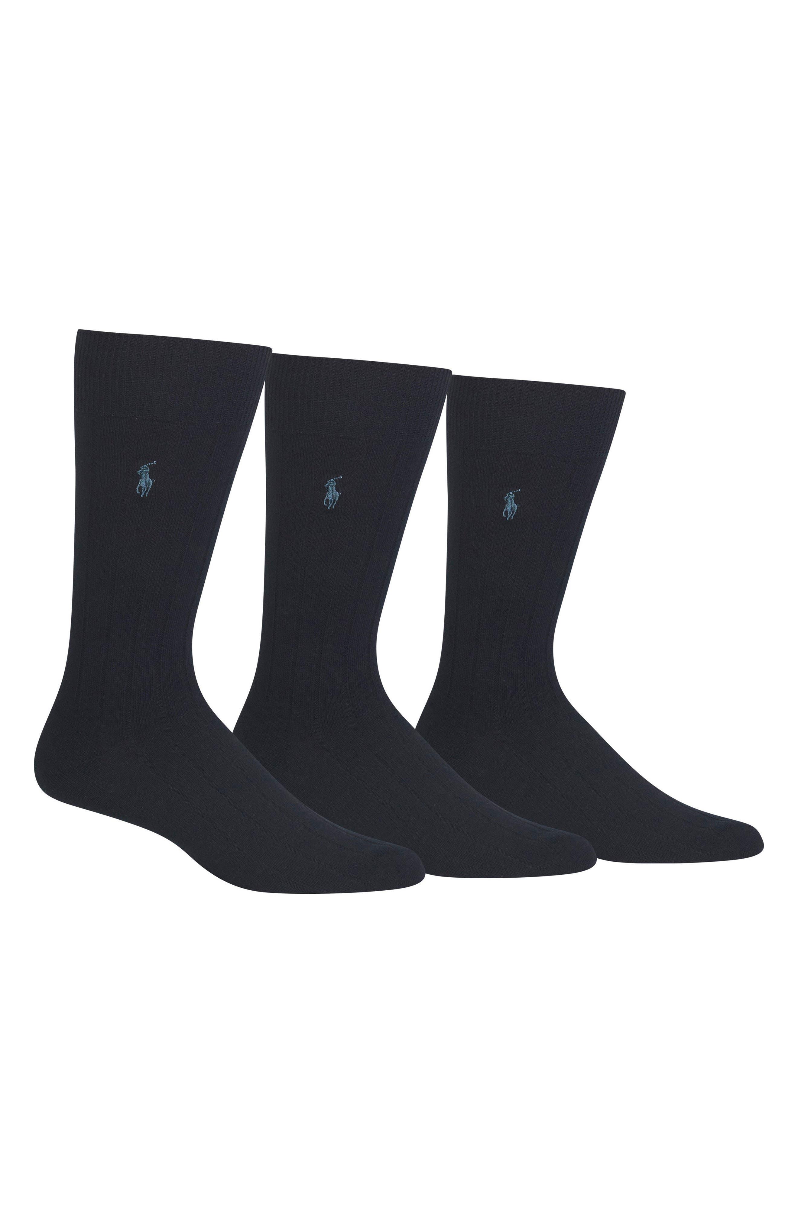 POLO RALPH LAUREN 3-Pack Crew Socks, Main, color, NAVY