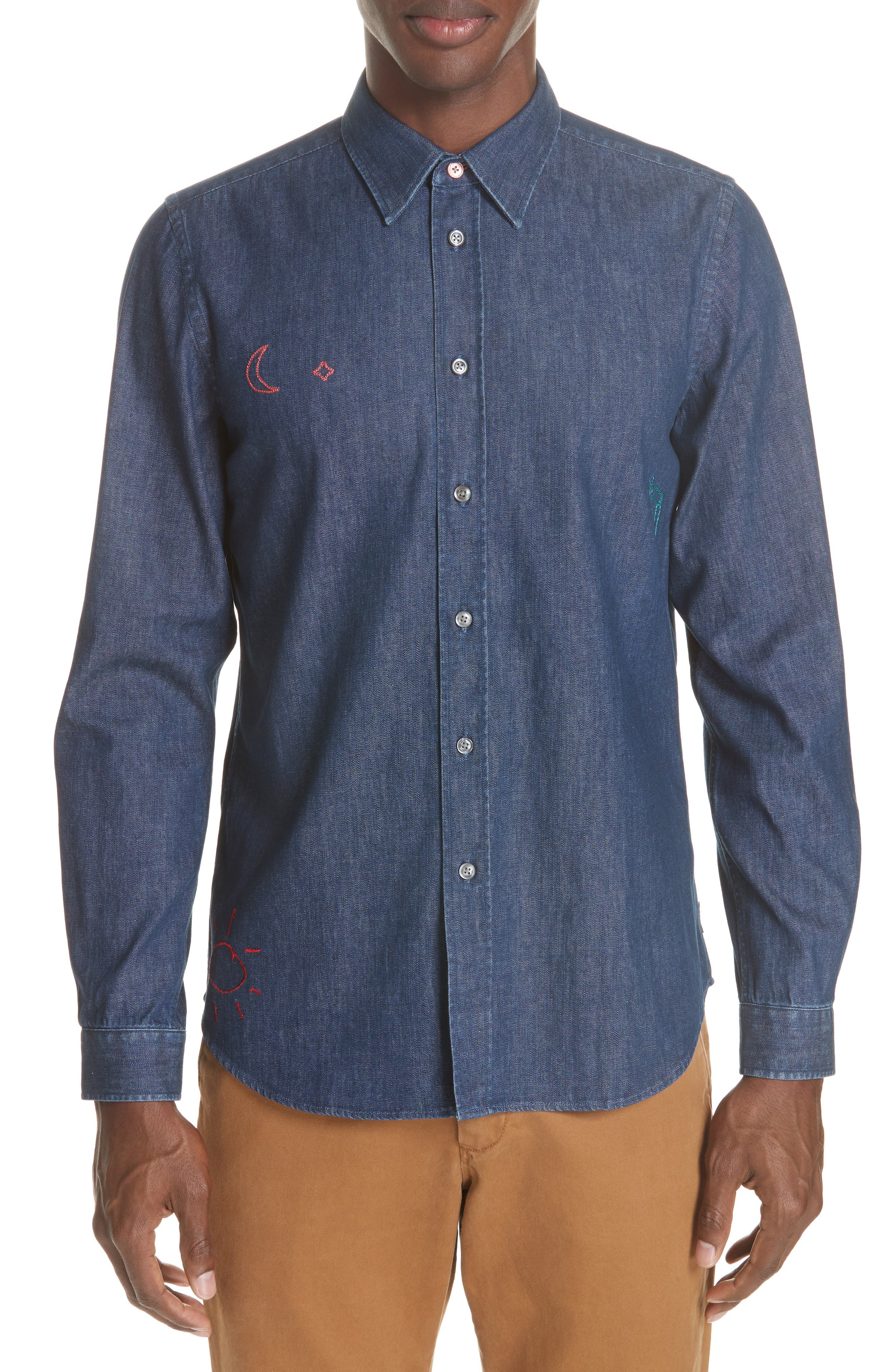 PS PAUL SMITH Denim Shirt with Embroidery, Main, color, 427