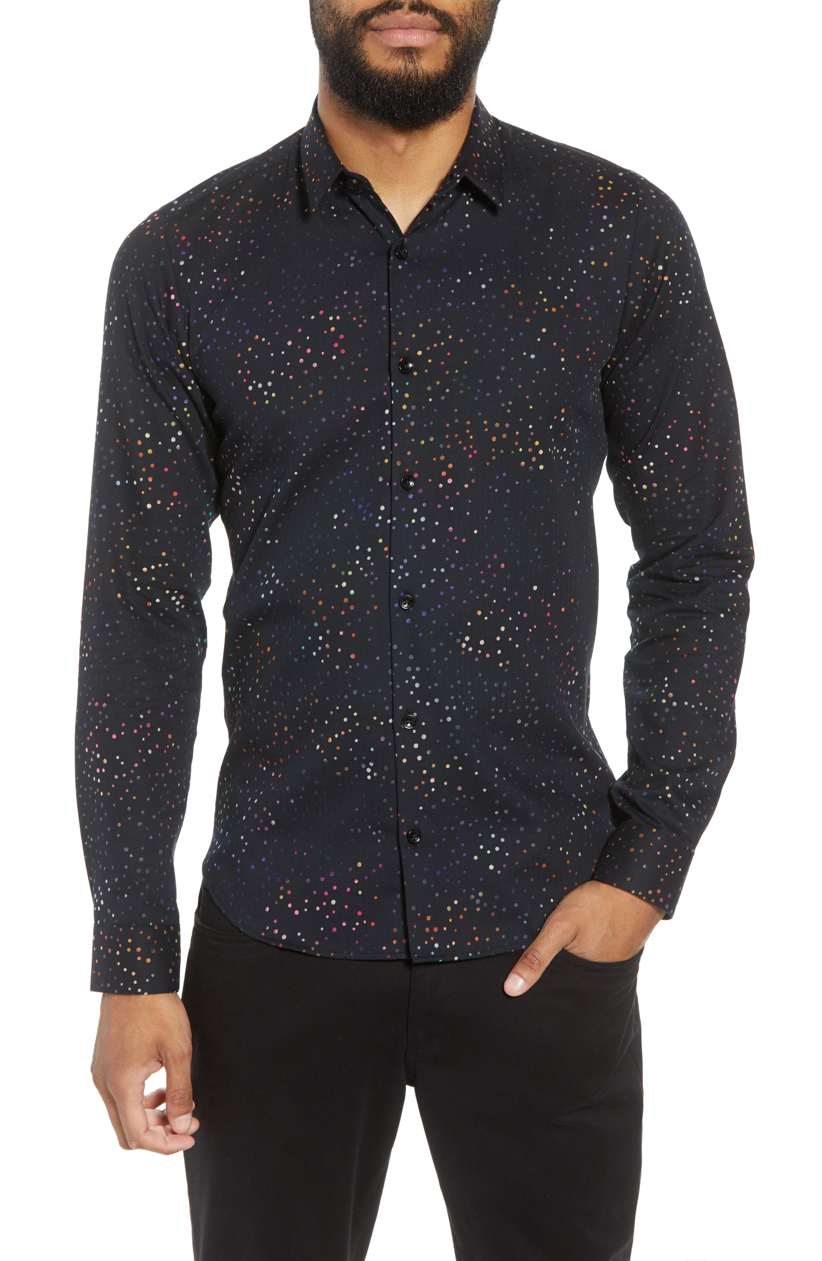 JARED LANG,                             Dot Herringbone Sport Shirt,                             Main thumbnail 1, color,                             BLACK MULTI COLORED DOTS