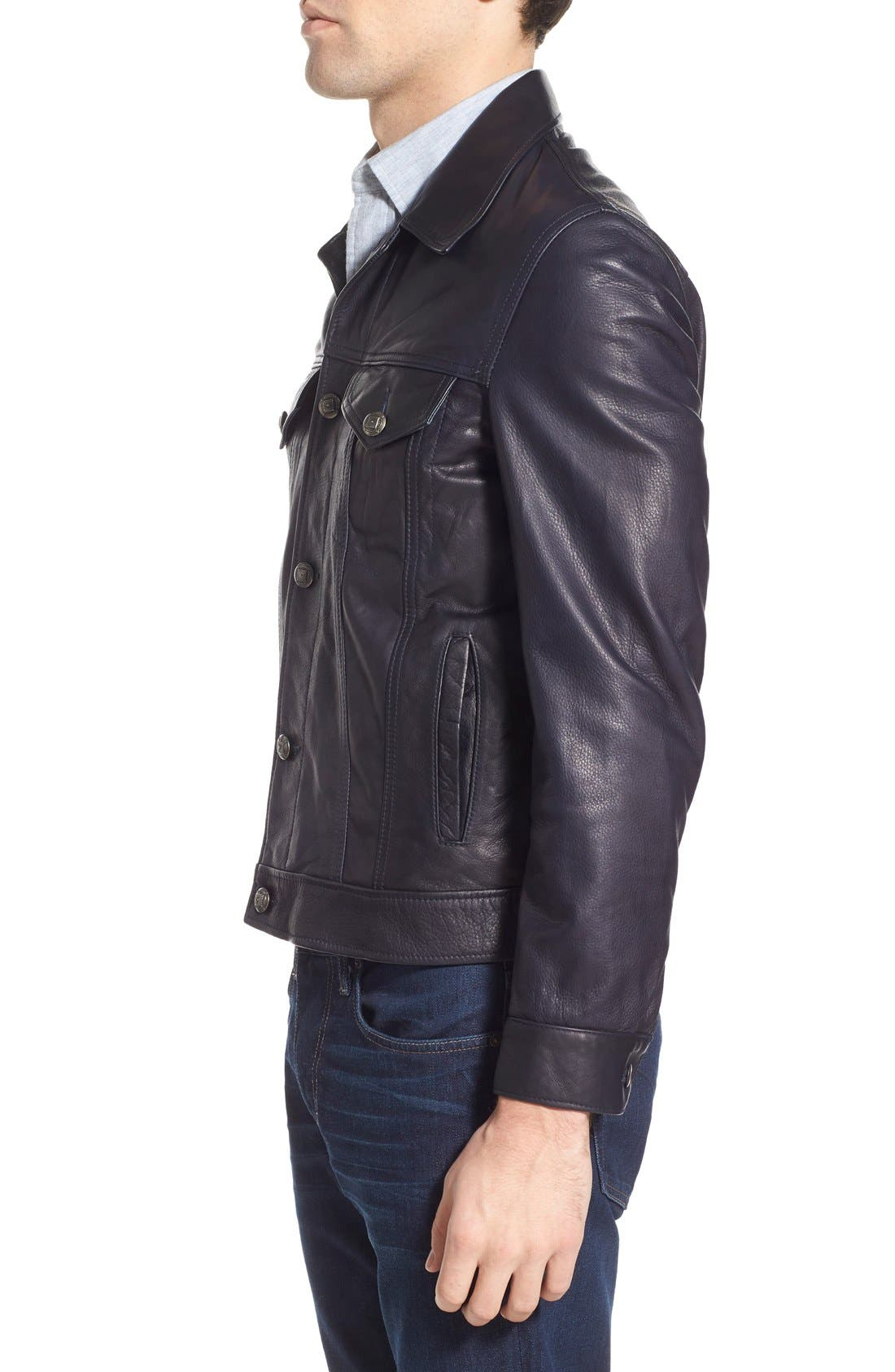 SCHOTT NYC,                             Washed Leather Trucker Jacket,                             Alternate thumbnail 3, color,                             410