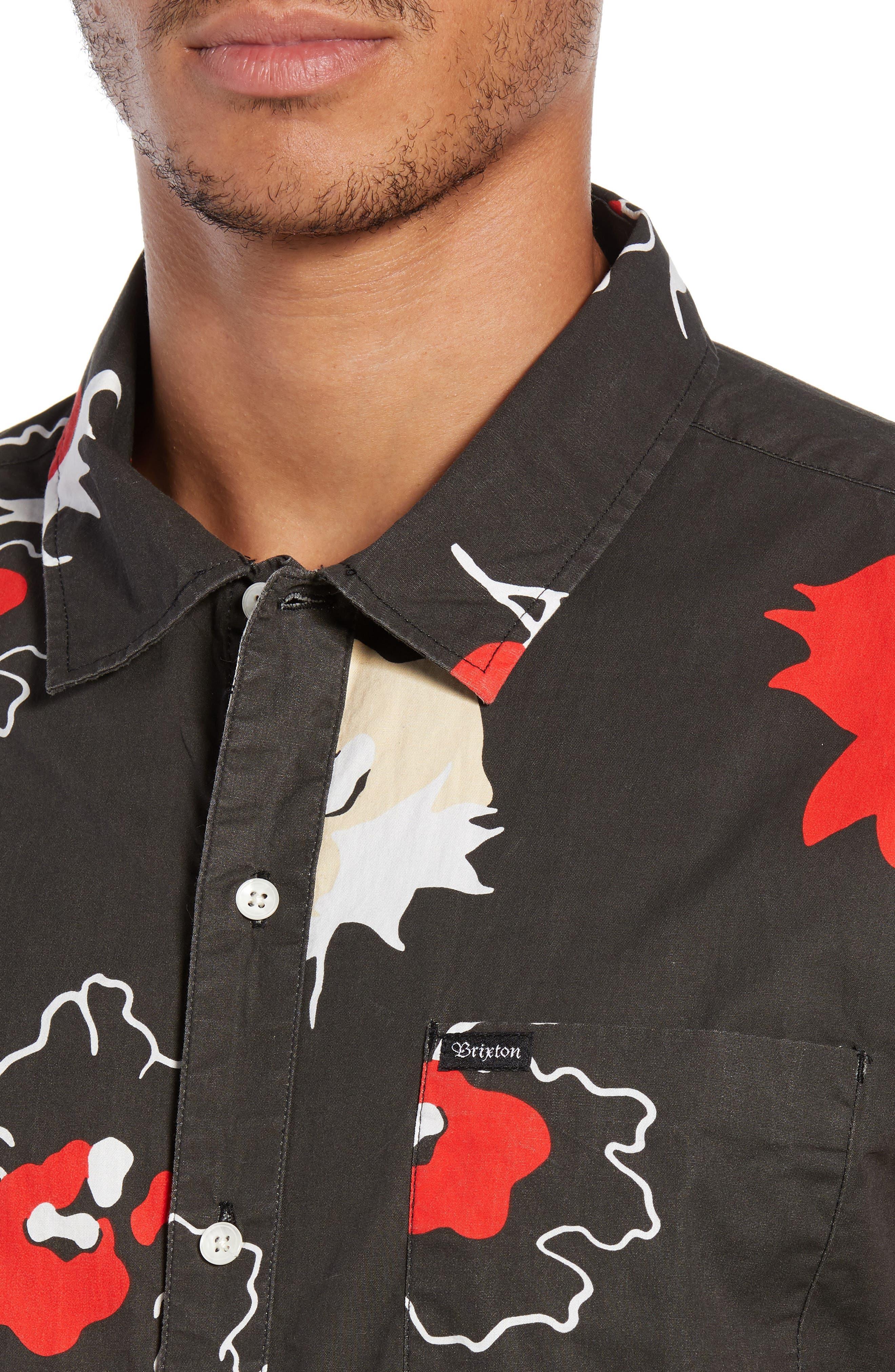 Charter Print Woven Shirt,                             Alternate thumbnail 4, color,                             001