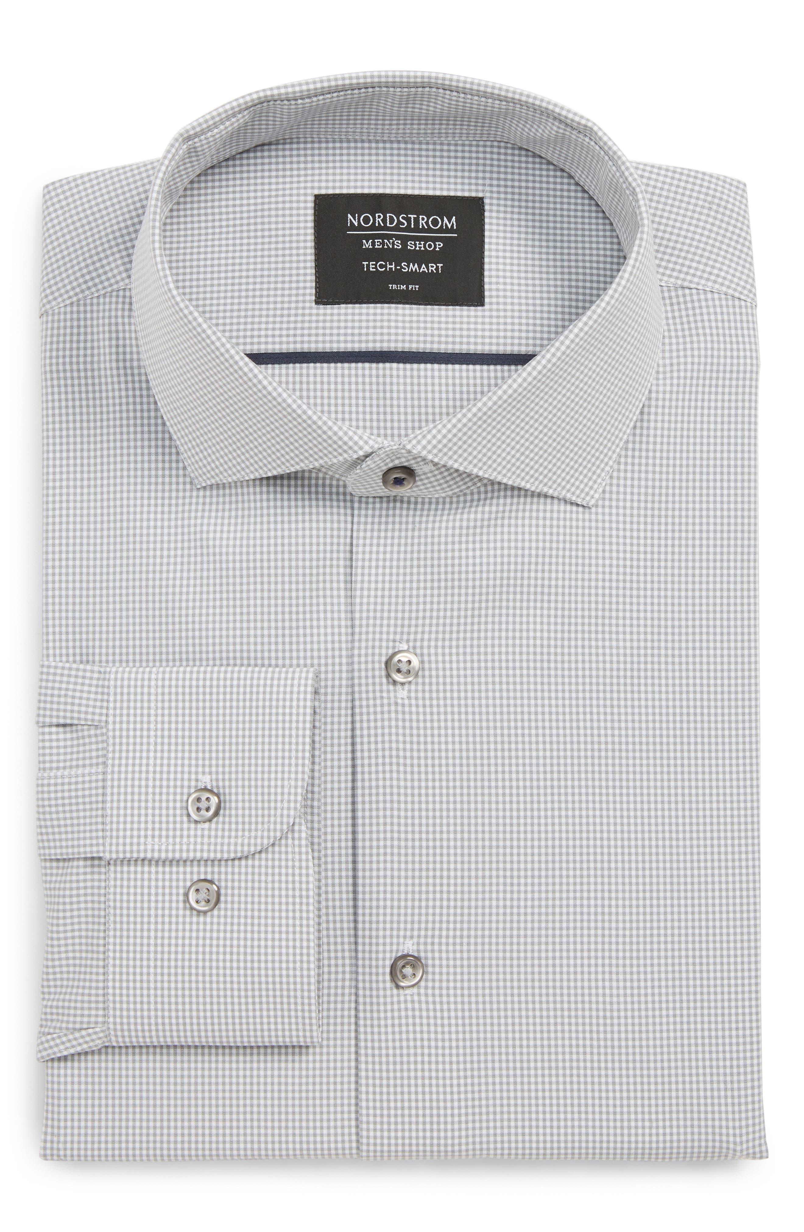 Tech-Smart Trim Fit Stretch Check Dress Shirt,                         Main,                         color, GREY SLEET