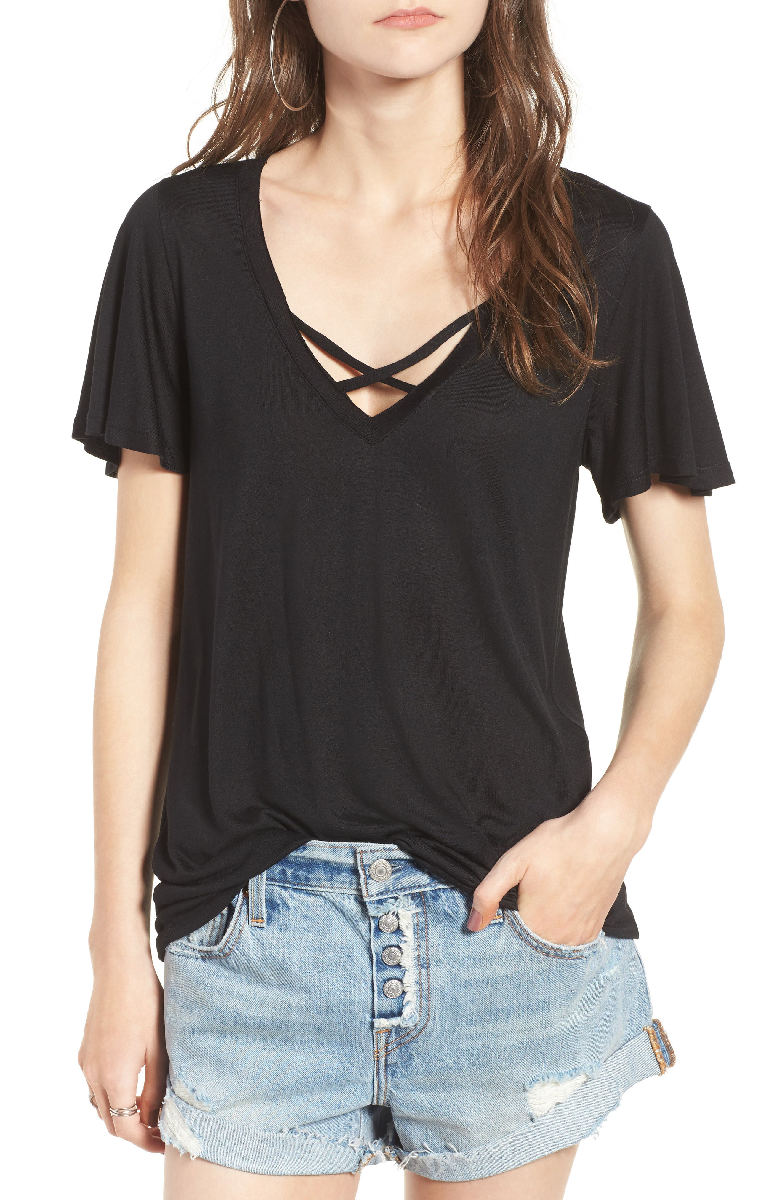 Cross Front Tee,                         Main,                         color, 001