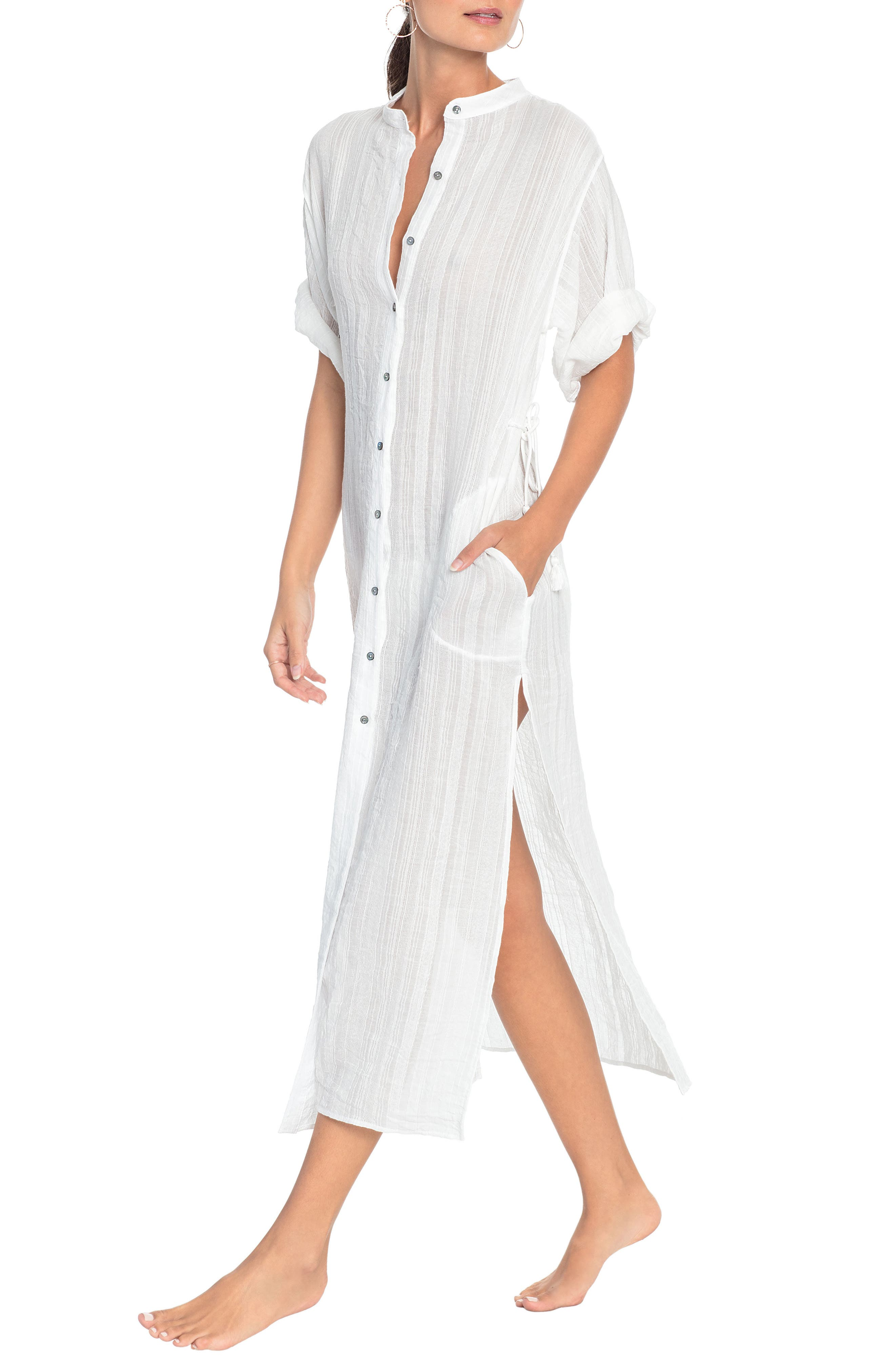 Michelle Mandarin Collar Caftan, Main, color, WHITE