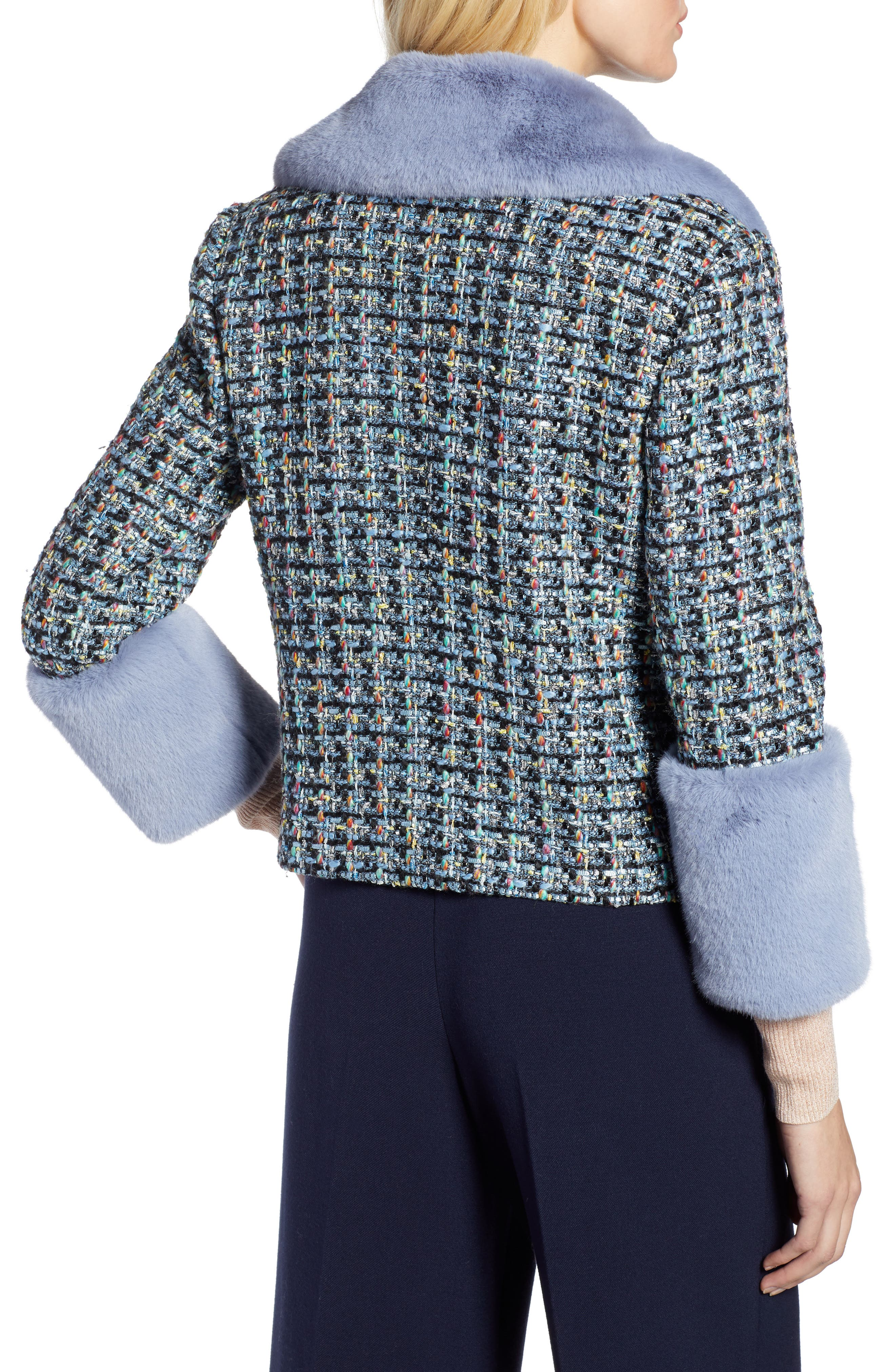 x Atlantic-Pacific Tweed Jacket with Removable Faux Fur Trim,                             Alternate thumbnail 3, color,                             BLACK MULTI TWEED