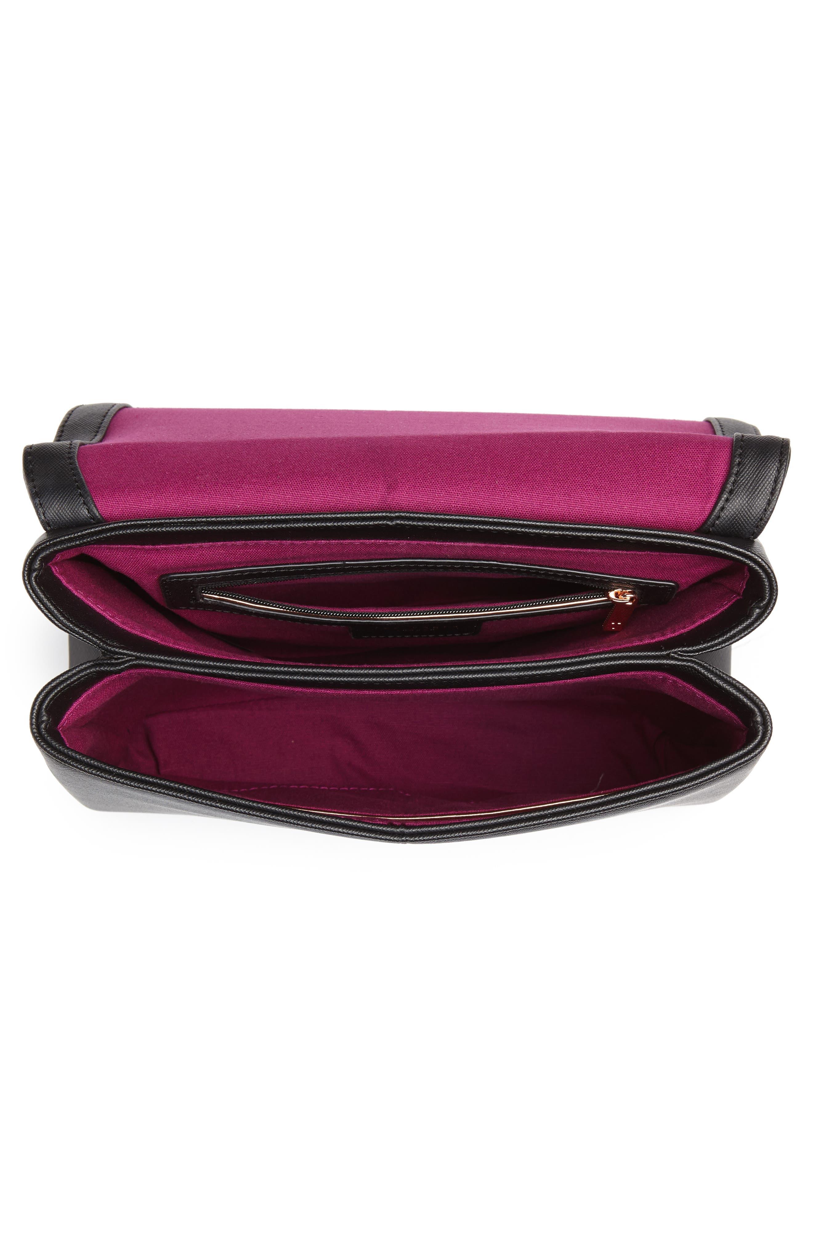 Splendour Lady Bag Faux Leather Top Handle Satchel,                             Alternate thumbnail 4, color,                             BLACK
