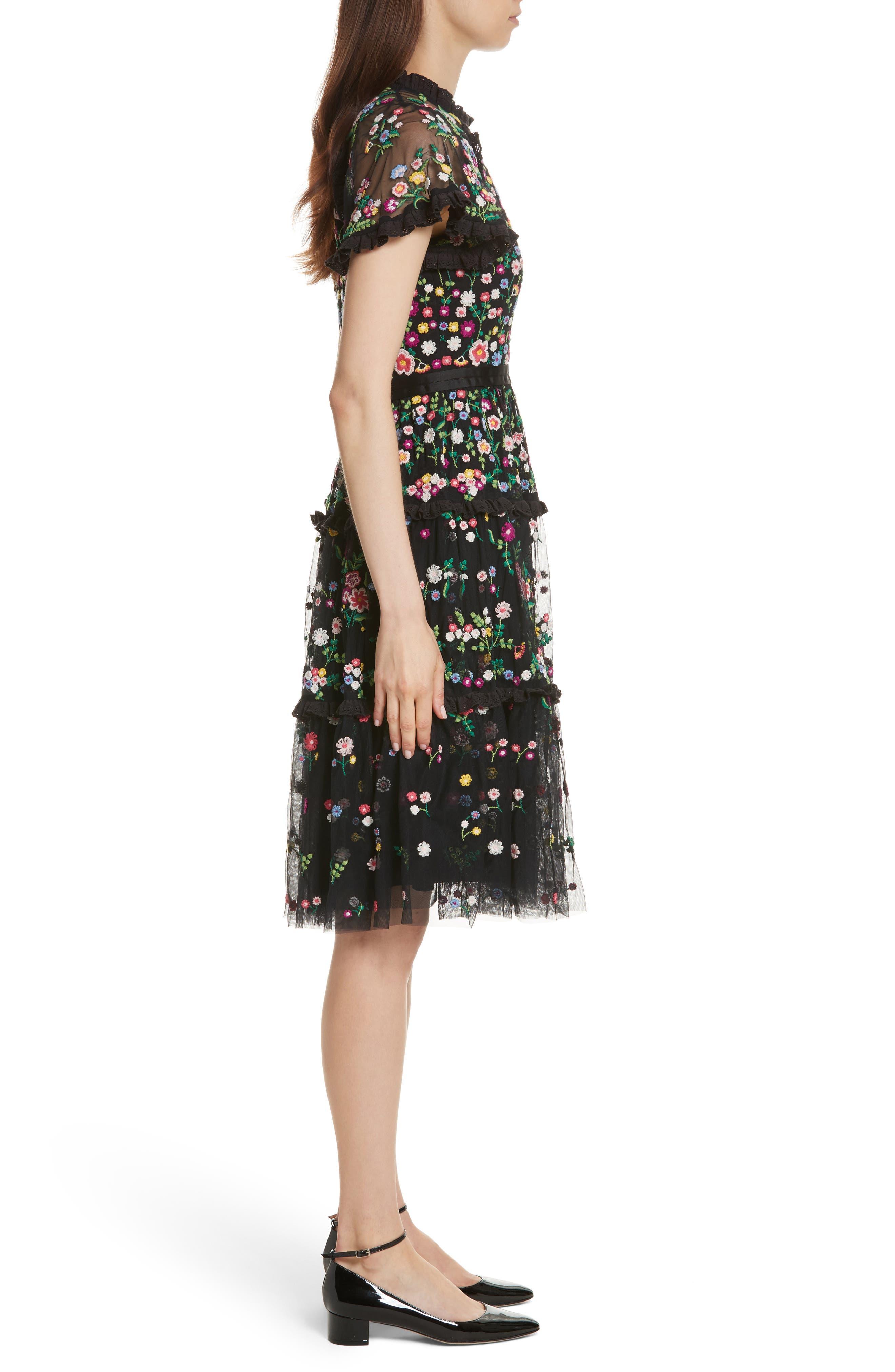 Lazy Daisy Fit & Flare Dress,                             Alternate thumbnail 3, color,                             001