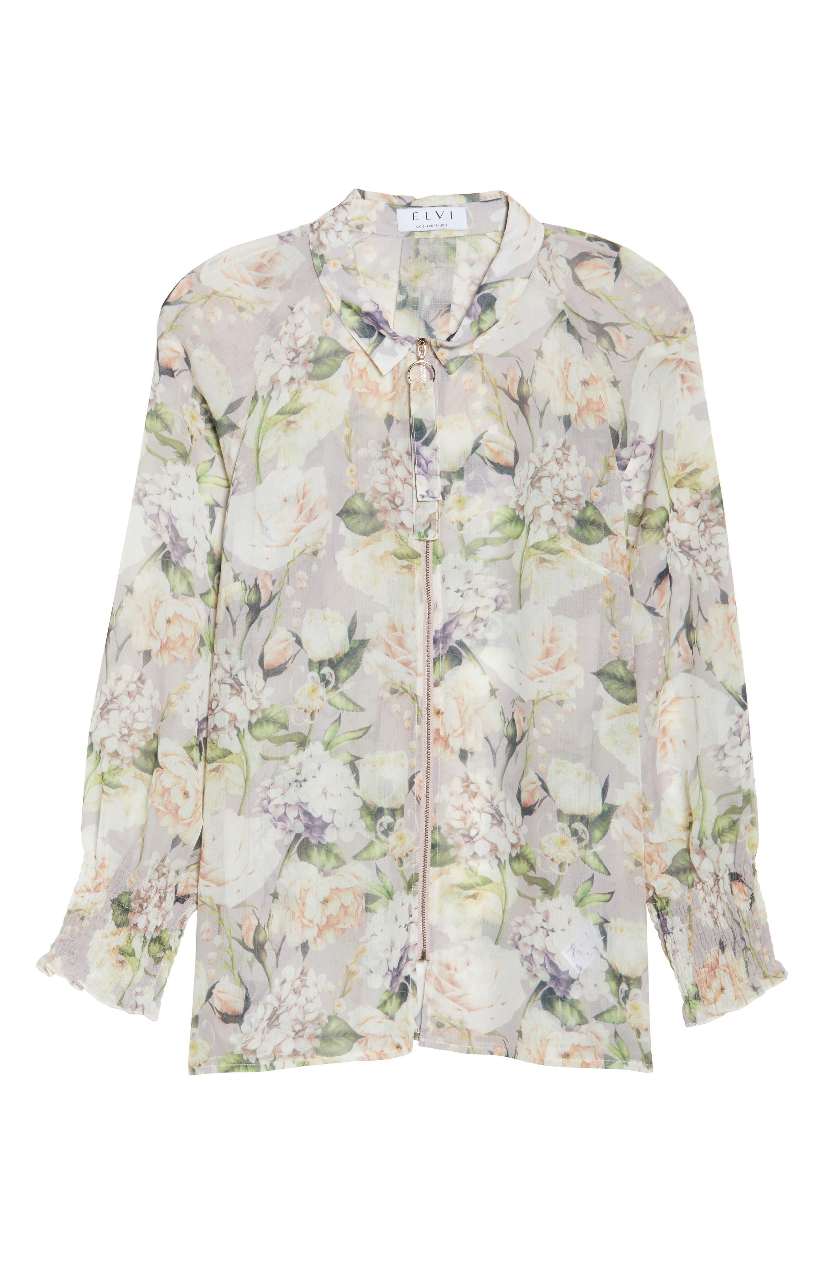 The Talinum Floral Zip Shirt,                             Alternate thumbnail 6, color,                             PURPLE
