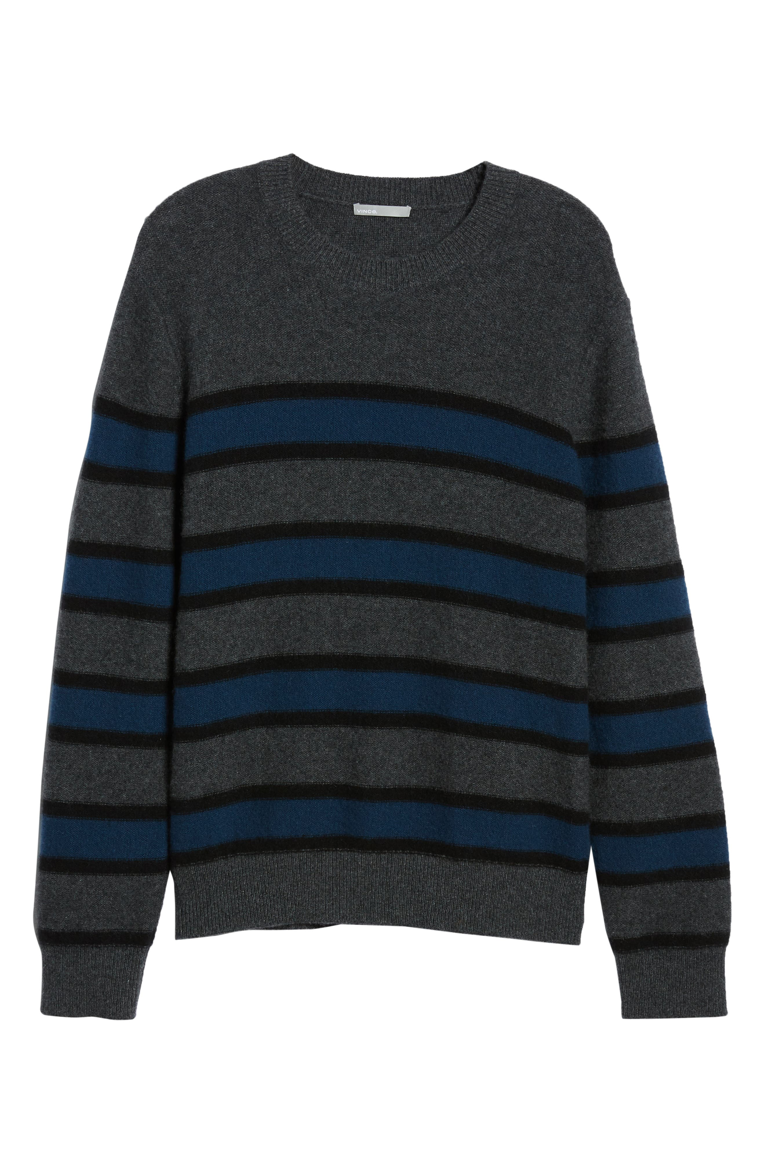 Regular Fit Stripe Cashmere Sweater,                             Alternate thumbnail 6, color,                             DARK HEATHER GREY/BLUE