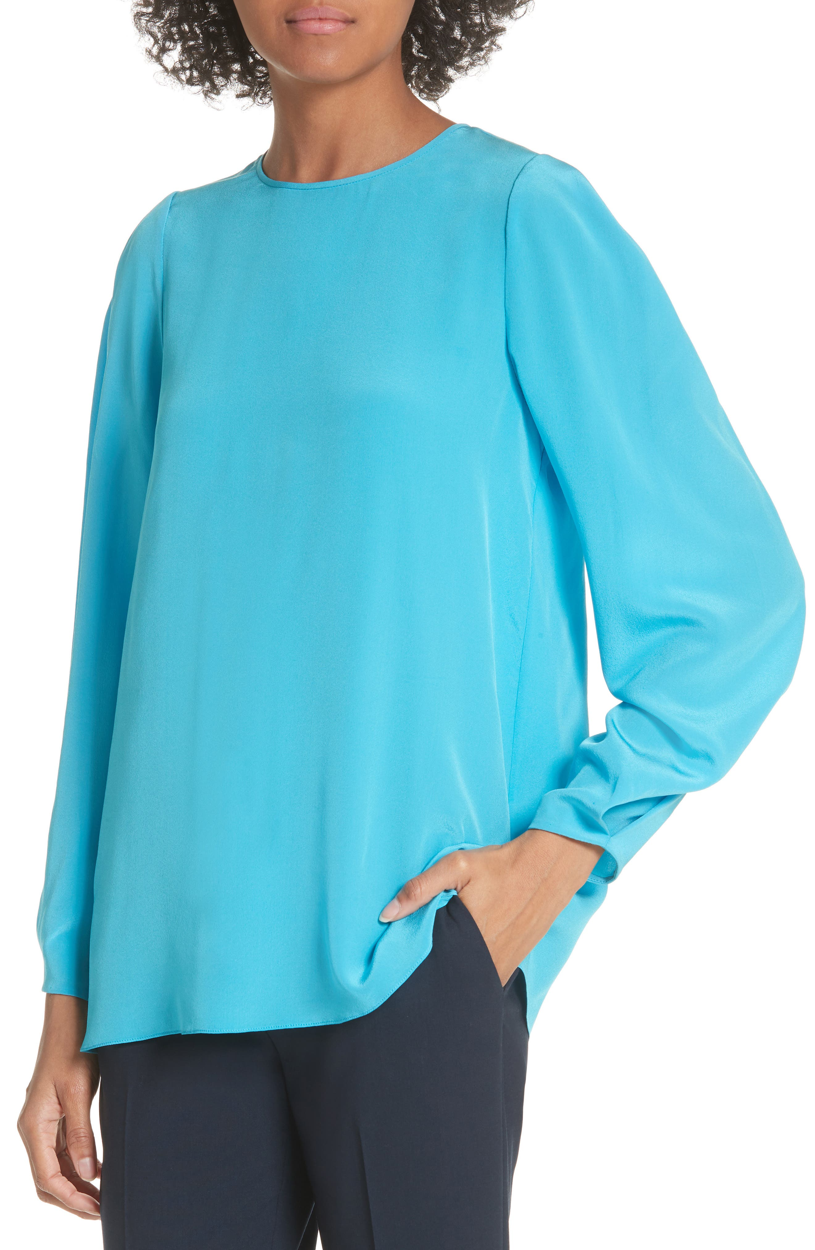 Cinched Sleeve Silk Blouse,                             Alternate thumbnail 4, color,