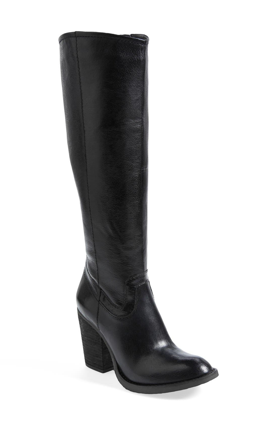 'Carrter' Knee High Leather Boot,                             Main thumbnail 1, color,                             001