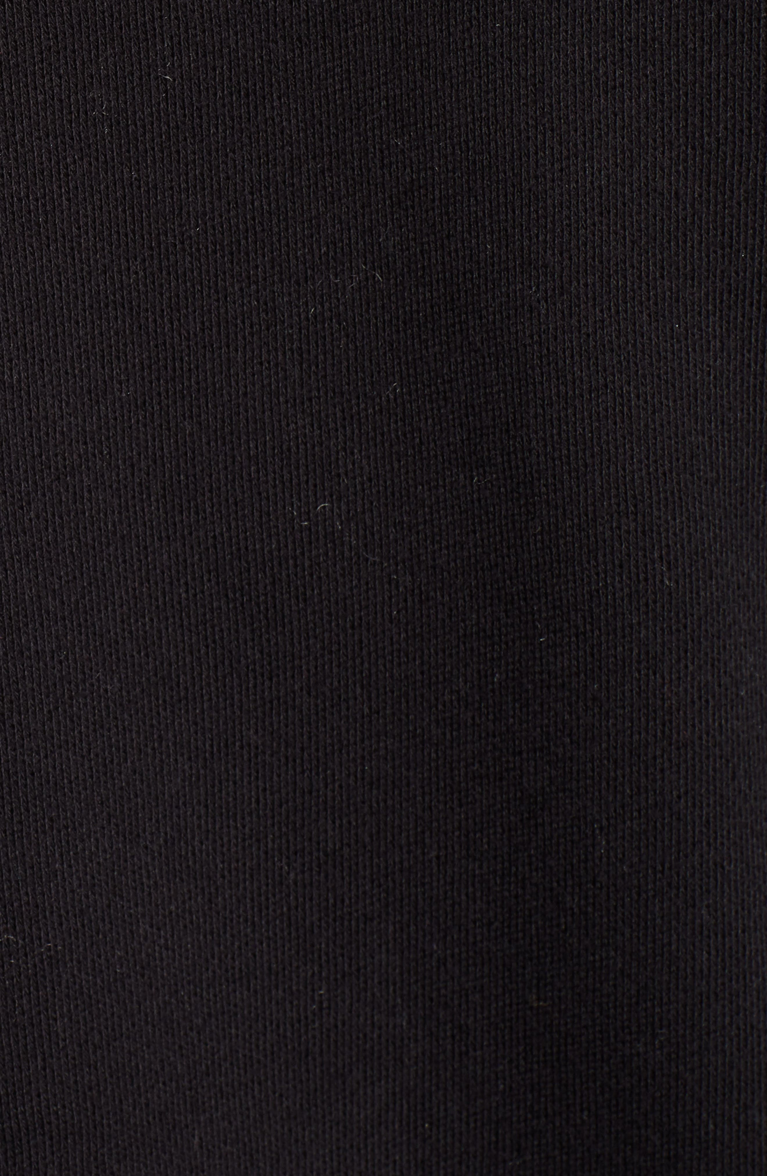French Terry Open Front Cotton Cardigan,                             Alternate thumbnail 5, color,                             BLACK