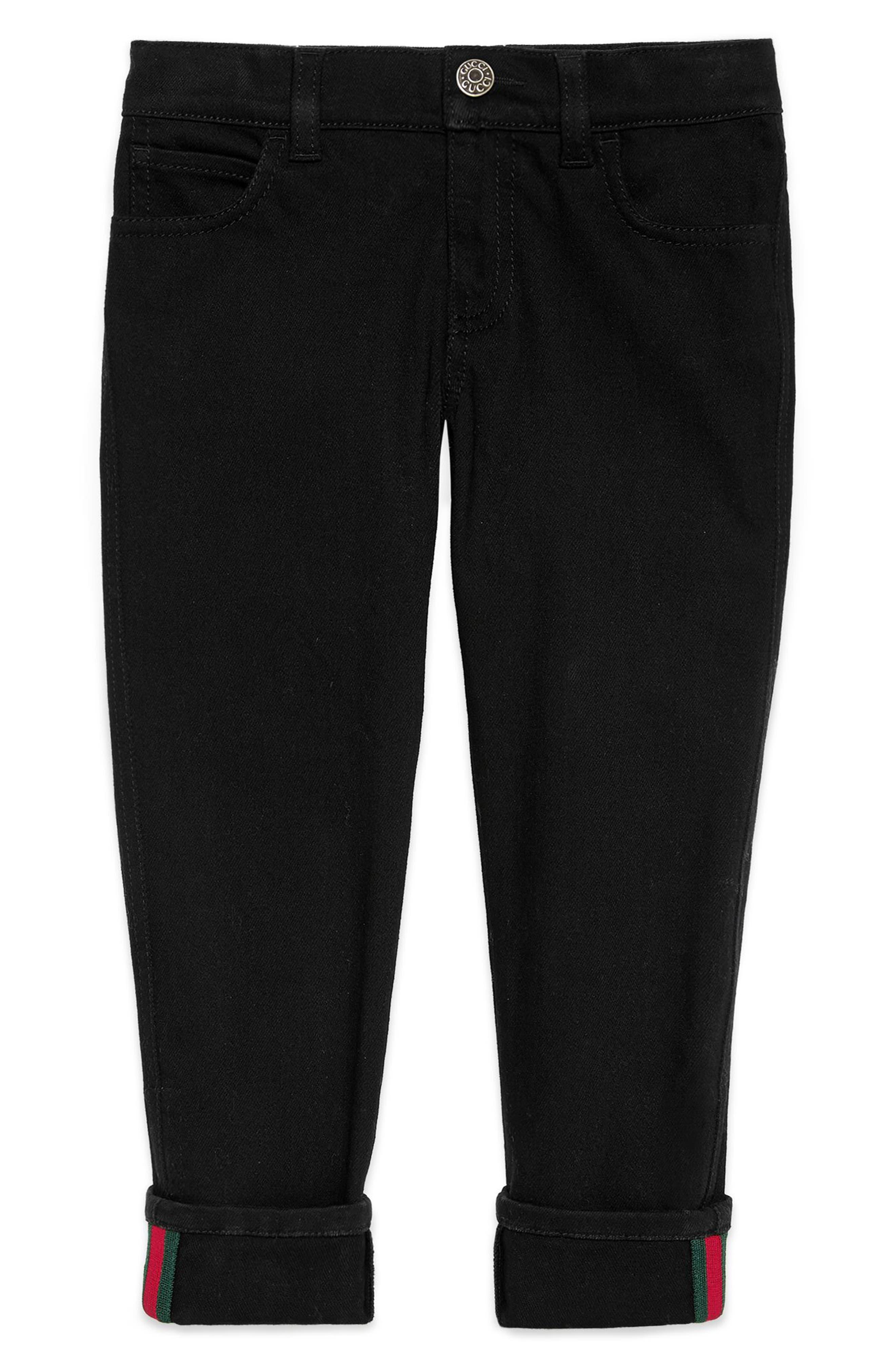 Straight Leg Pants,                         Main,                         color, BLACK/ GREEN/ RED