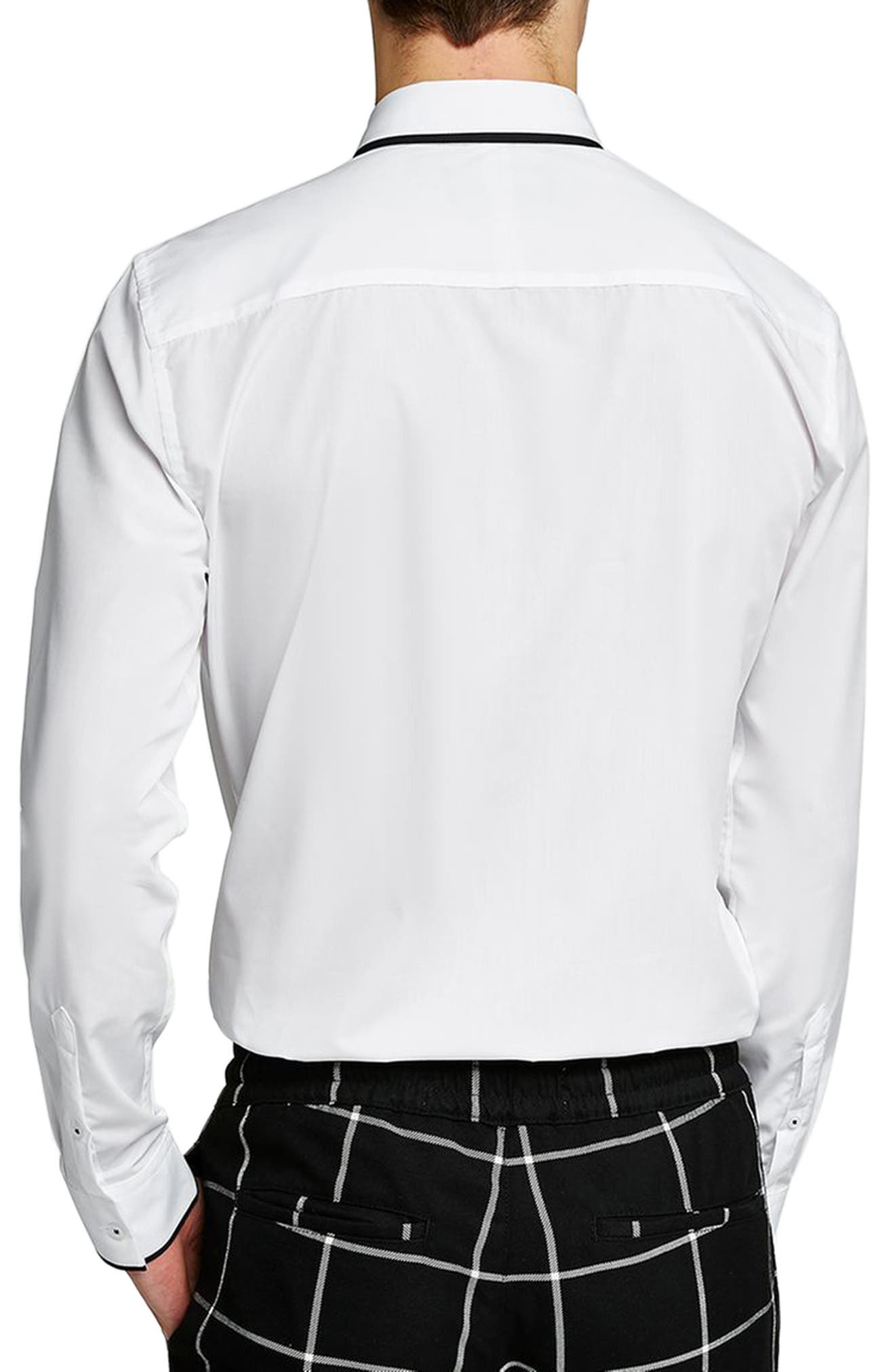 Smart Skinny Fit Dress Shirt,                             Alternate thumbnail 3, color,                             WHITE