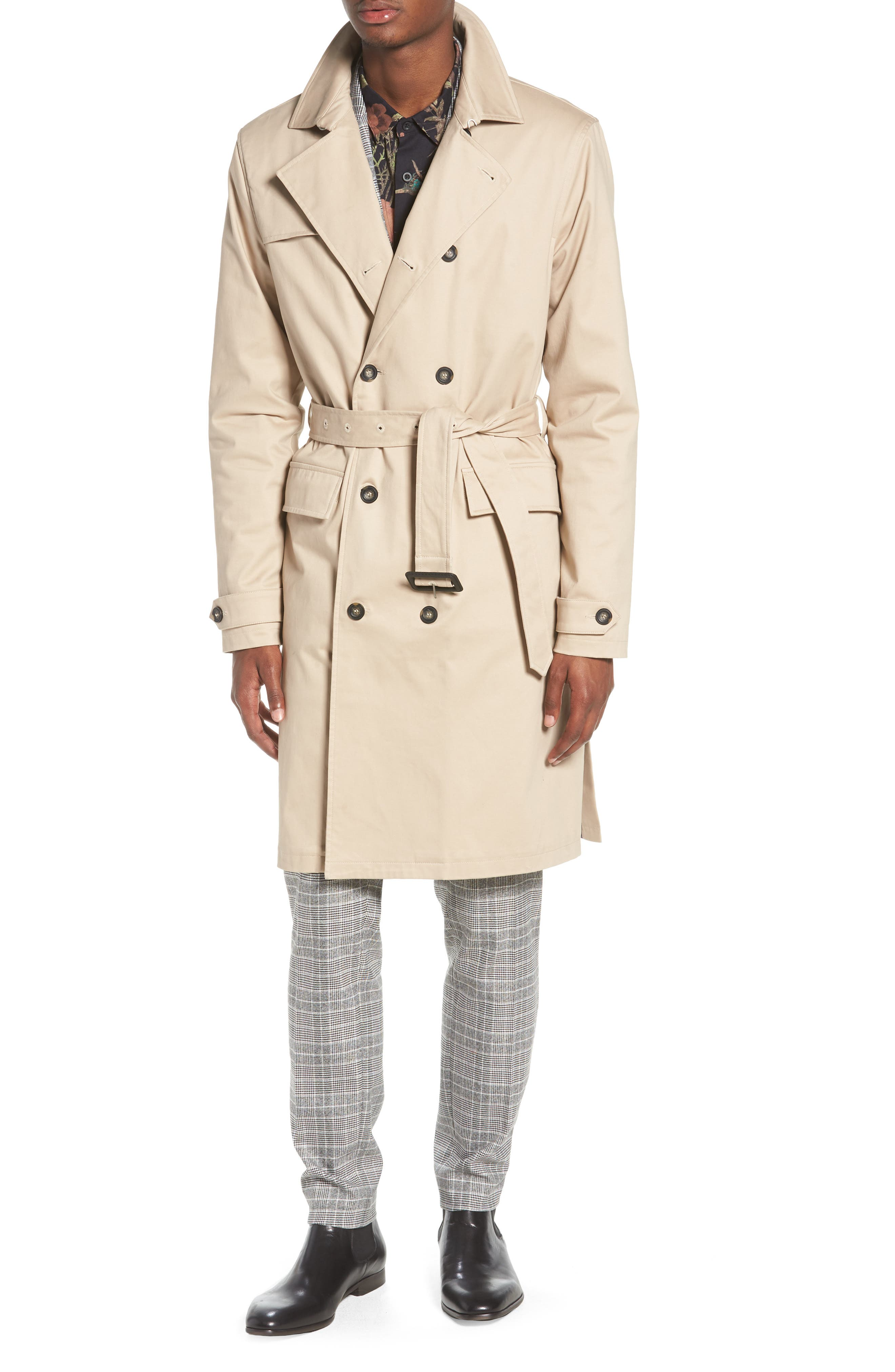Peached Trench Coat,                             Alternate thumbnail 4, color,                             STONE