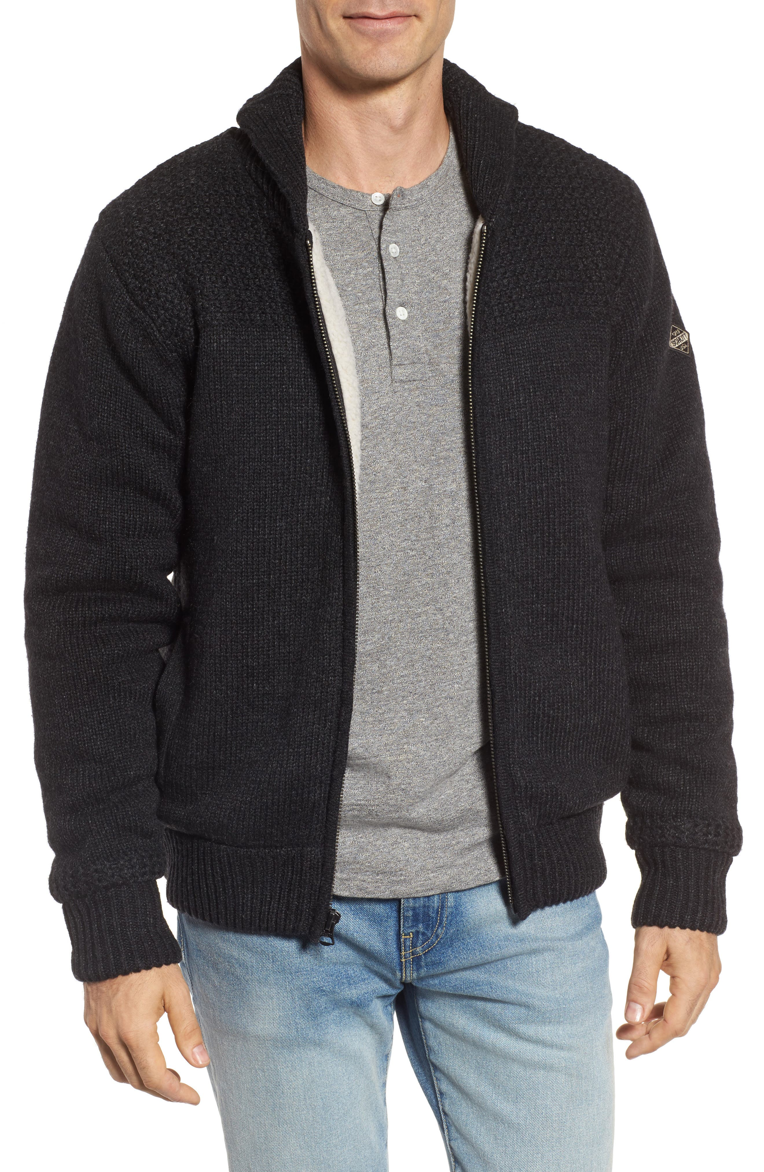 SCHOTT NYC,                             Lined Wool Zip Sweater,                             Main thumbnail 1, color,                             BLACK