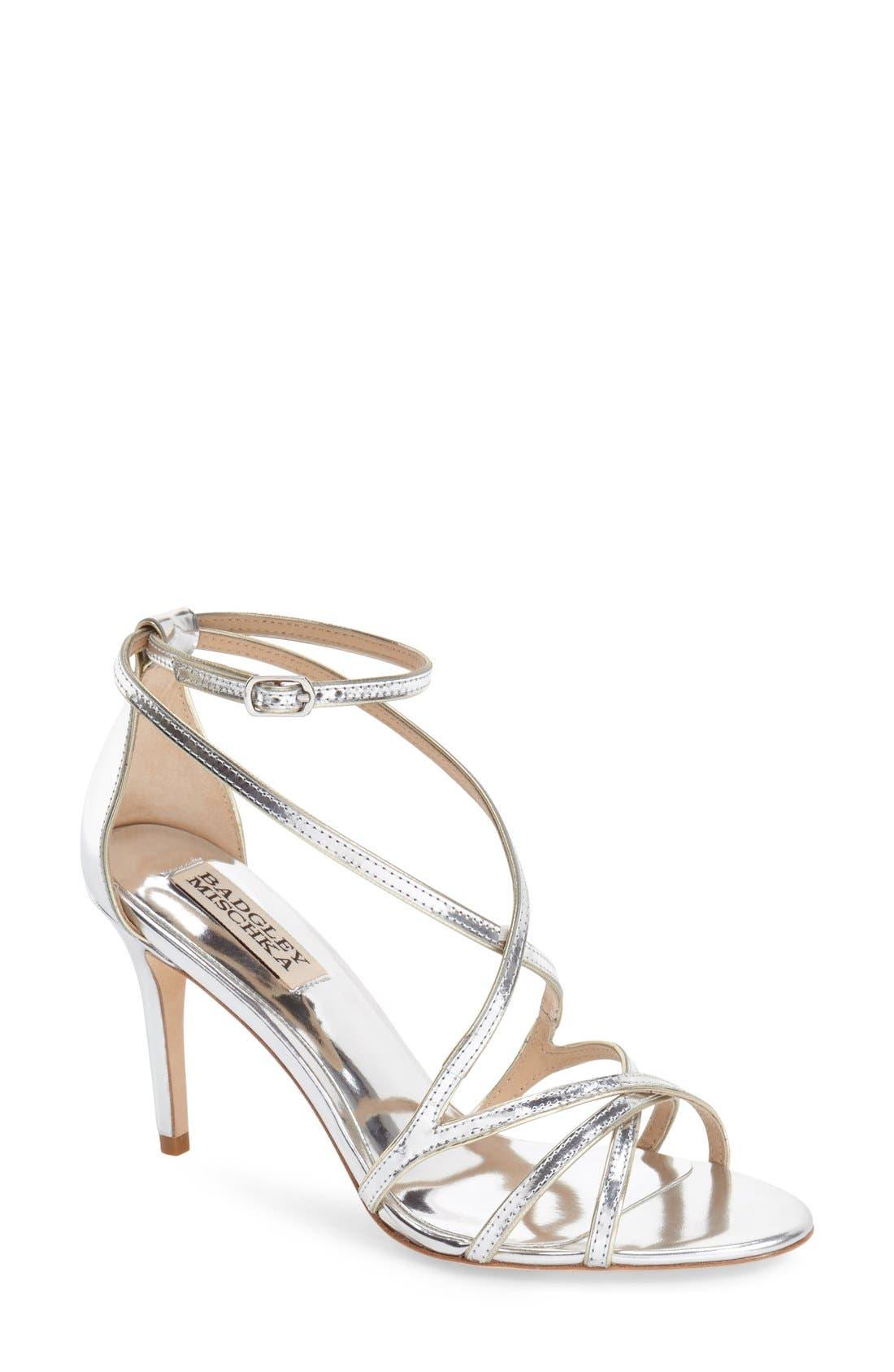 BADGLEY MISCHKA COLLECTION Badgley Mischka 'Lillian' Metallic Evening Sandal, Main, color, 046