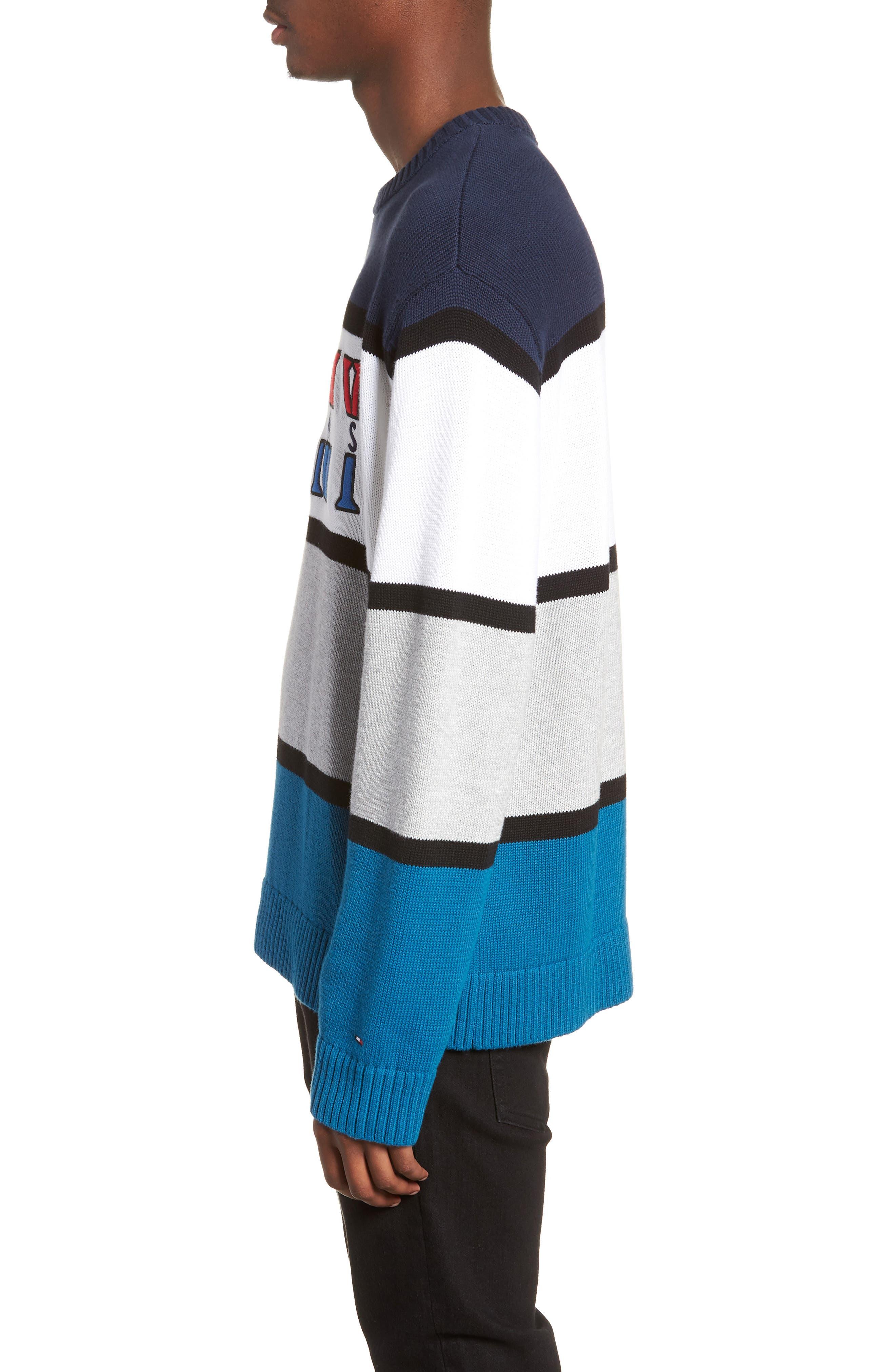 Retro Colorblock Sweater,                             Alternate thumbnail 3, color,                             400