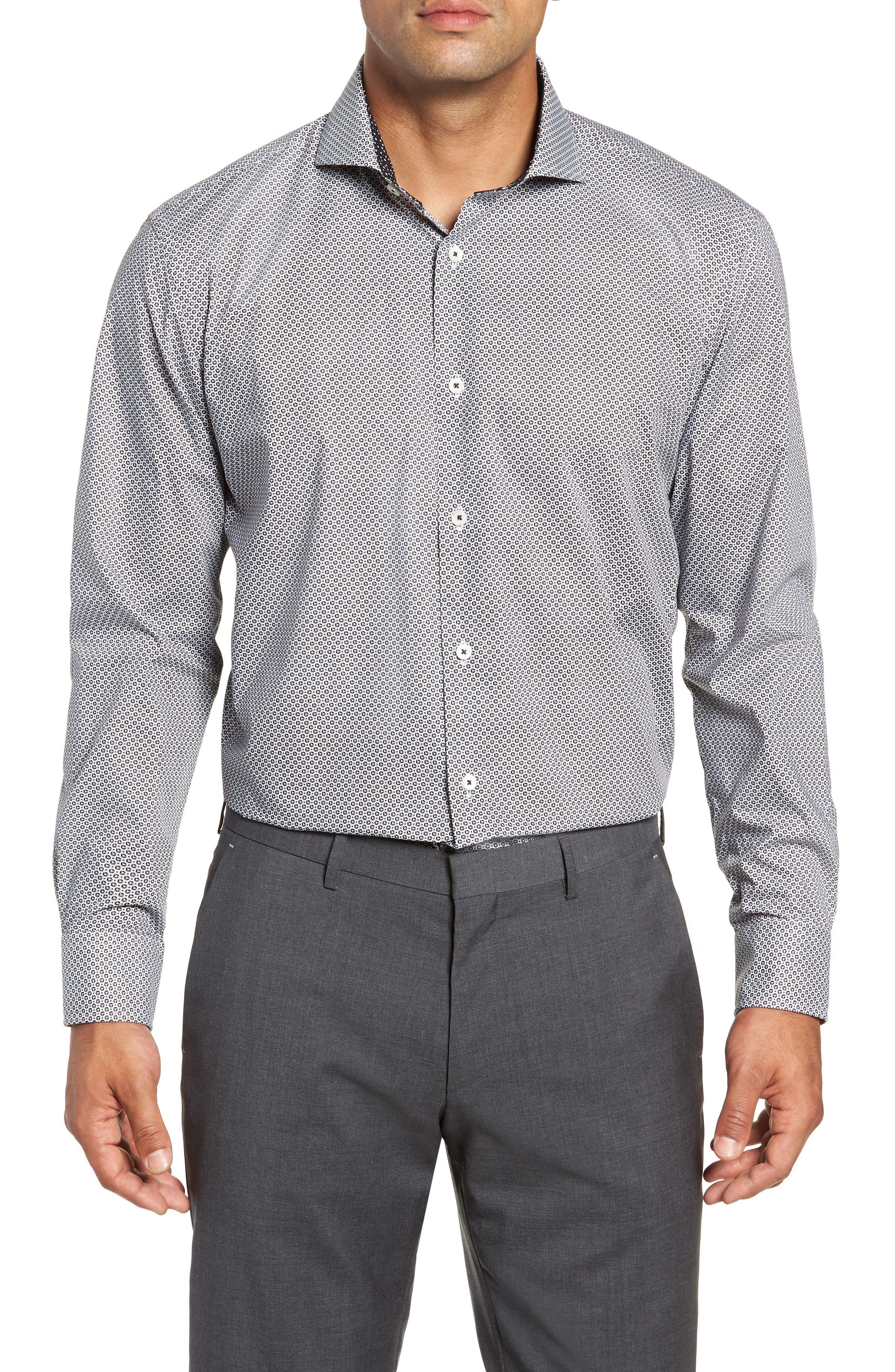 men's bugatchi trim fit dot dress shirt