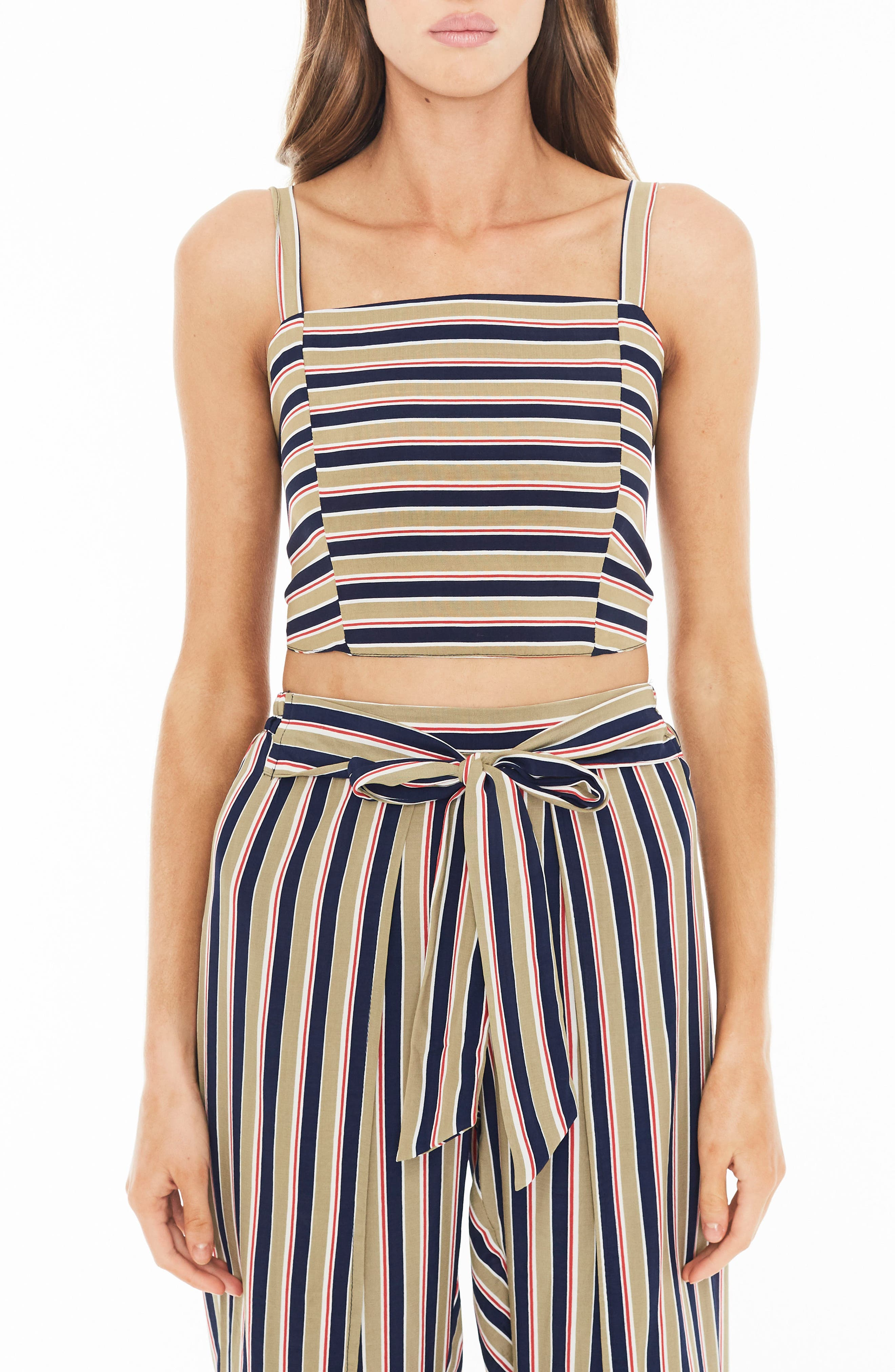 Fortelina Stripe Crop Top,                         Main,                         color, TRENTINI STRIPE PRINT