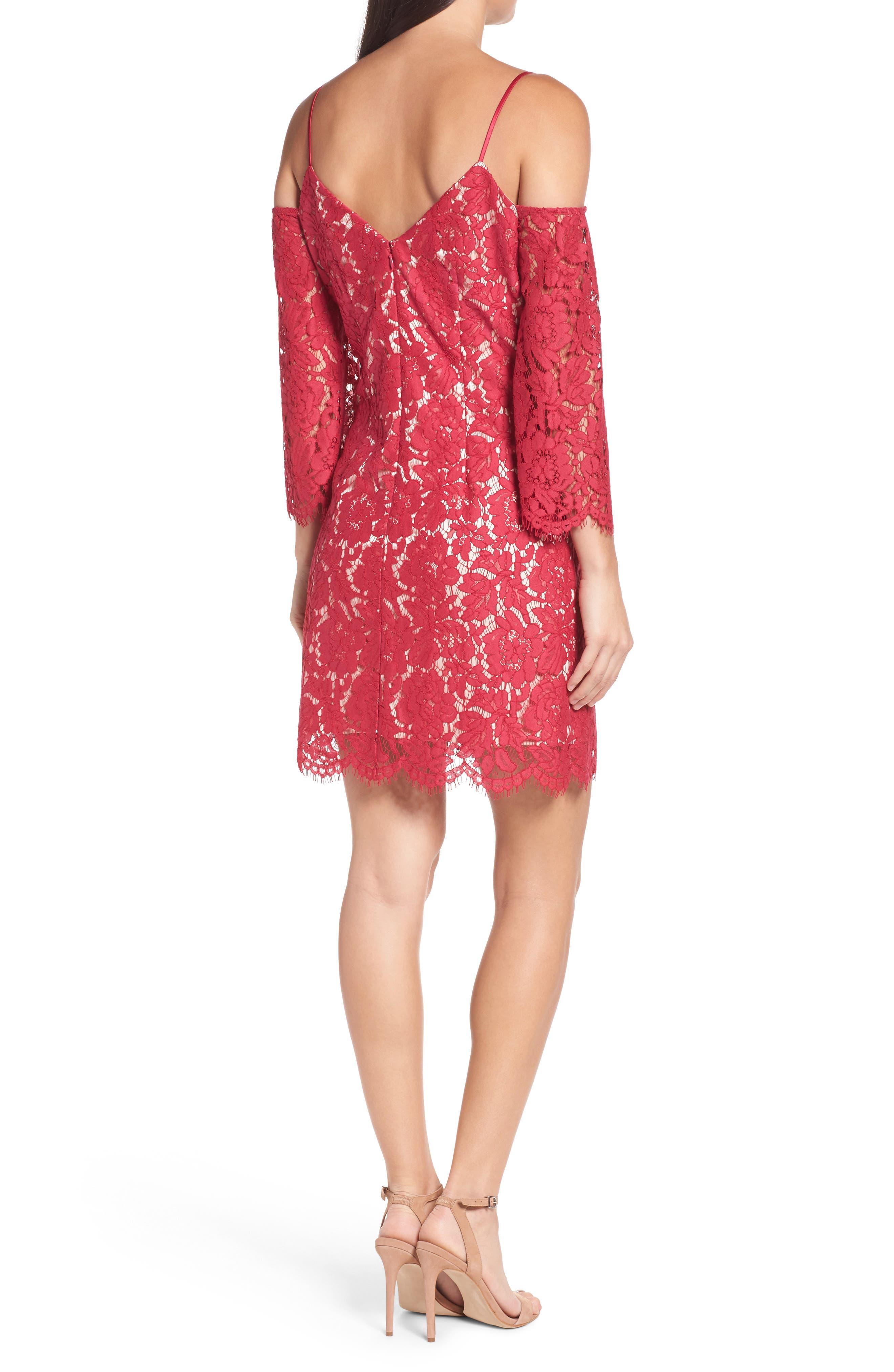 Cold Shoulder Lace Shift Dress,                             Alternate thumbnail 2, color,                             601
